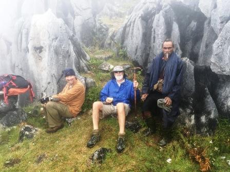 David, Nick and guide below summit of Matebean (Nicholas Hughes, July 2018)