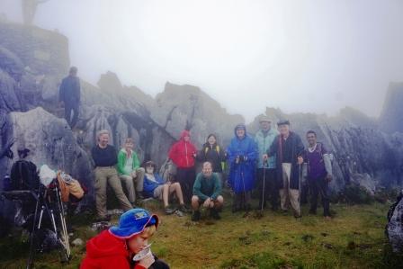 Group below summit of Matebean (Trevor Sharot, July 2018)