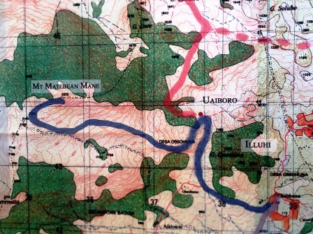 Indonesian topographical map of Matebean - blue marks the trail