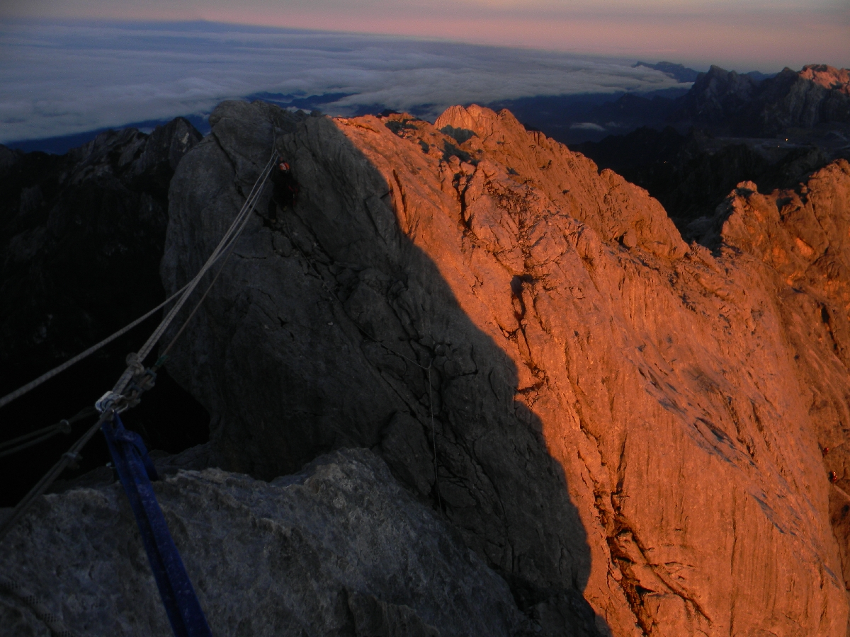 Tyrolean on summit ridge of Carstensz Pyramid (Robert Cassady, 2010)
