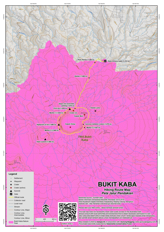 Peta Jalur Pendakian Bukit Kaba