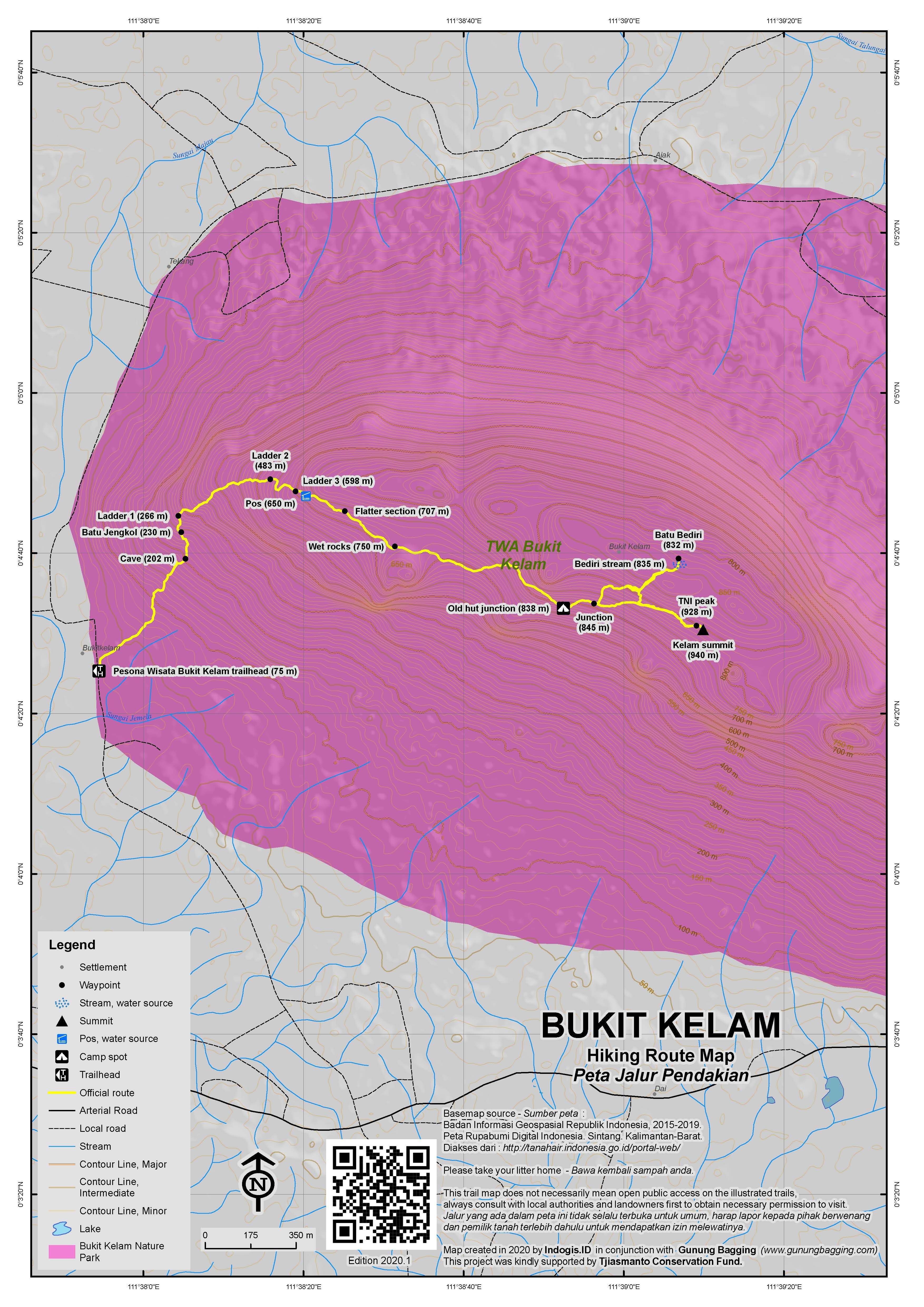 Peta Jalur Pendakian Bukit Kelam