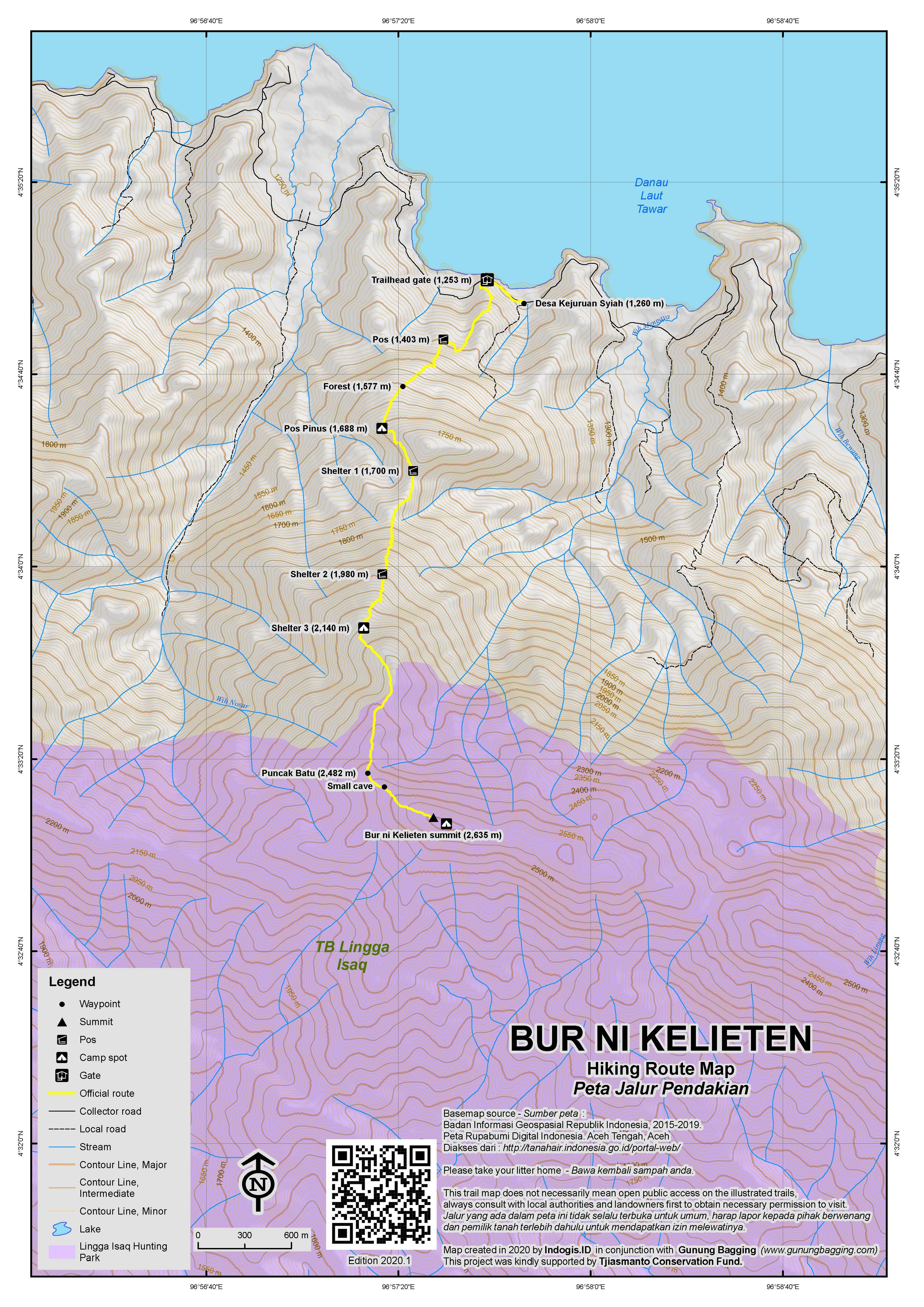 Peta Jalur Pendakian Bur ni Kelieten