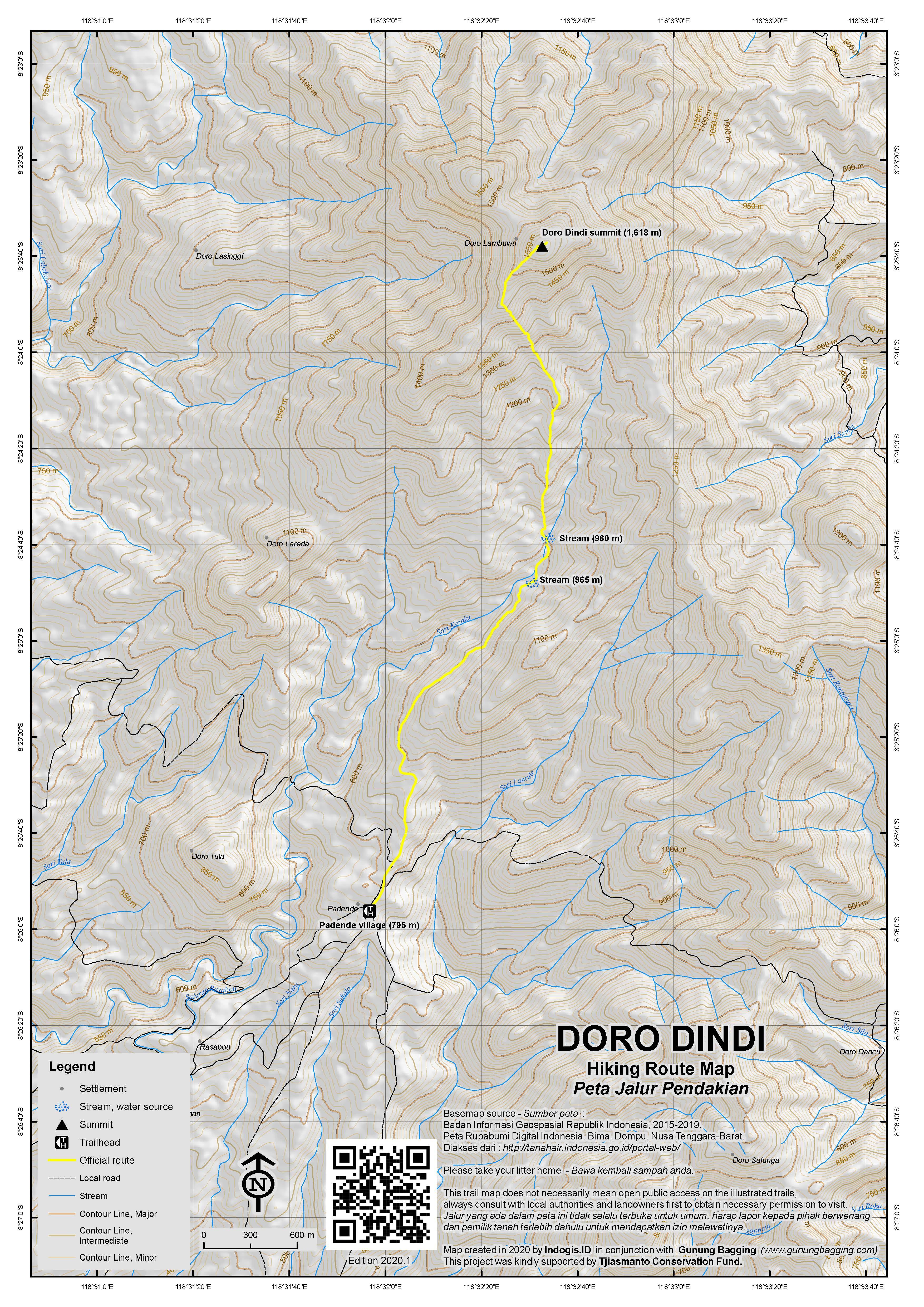 Peta Jalur Pendakian Doro Dindi