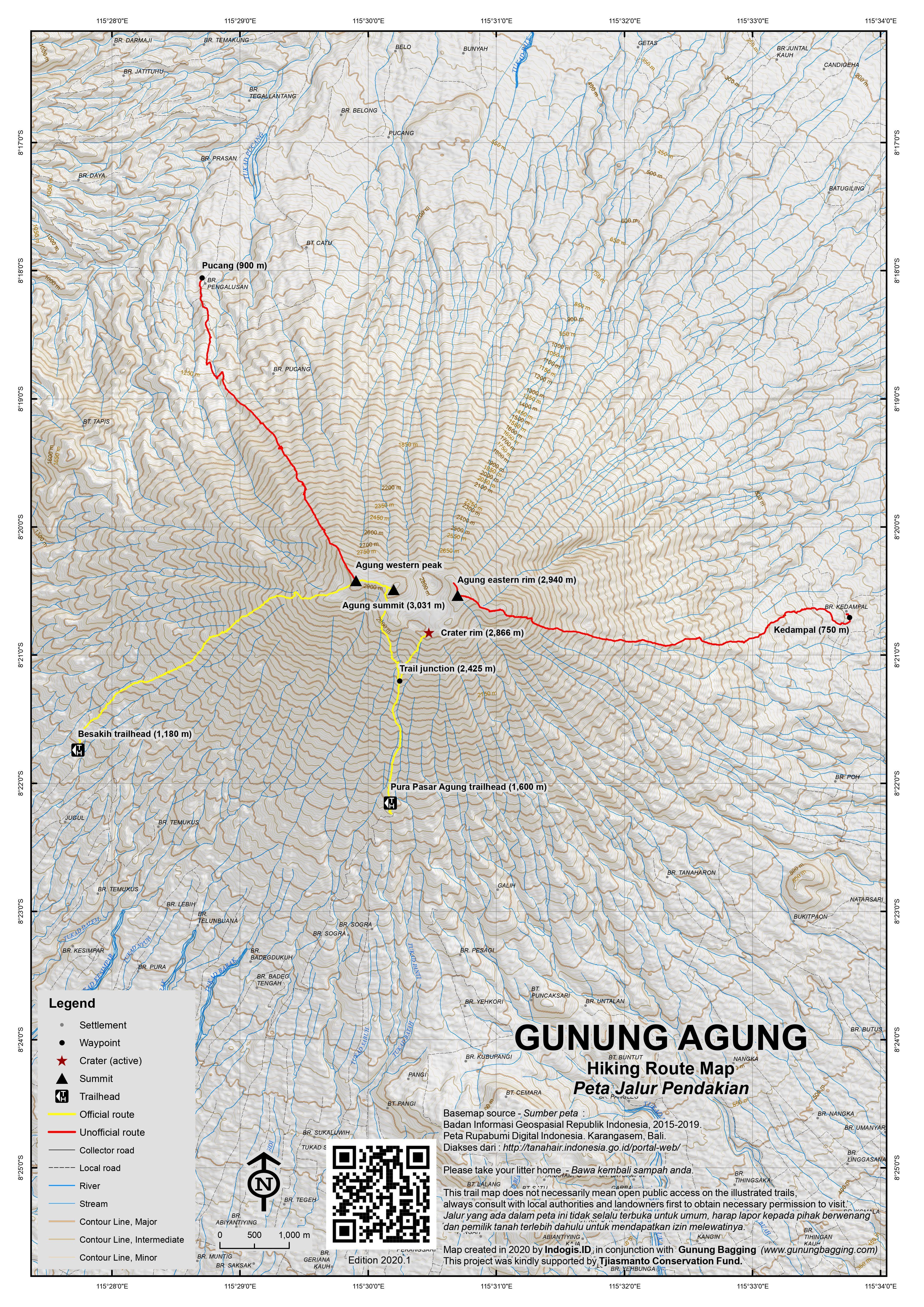 Peta Jalur Pendakian Gunung Agung