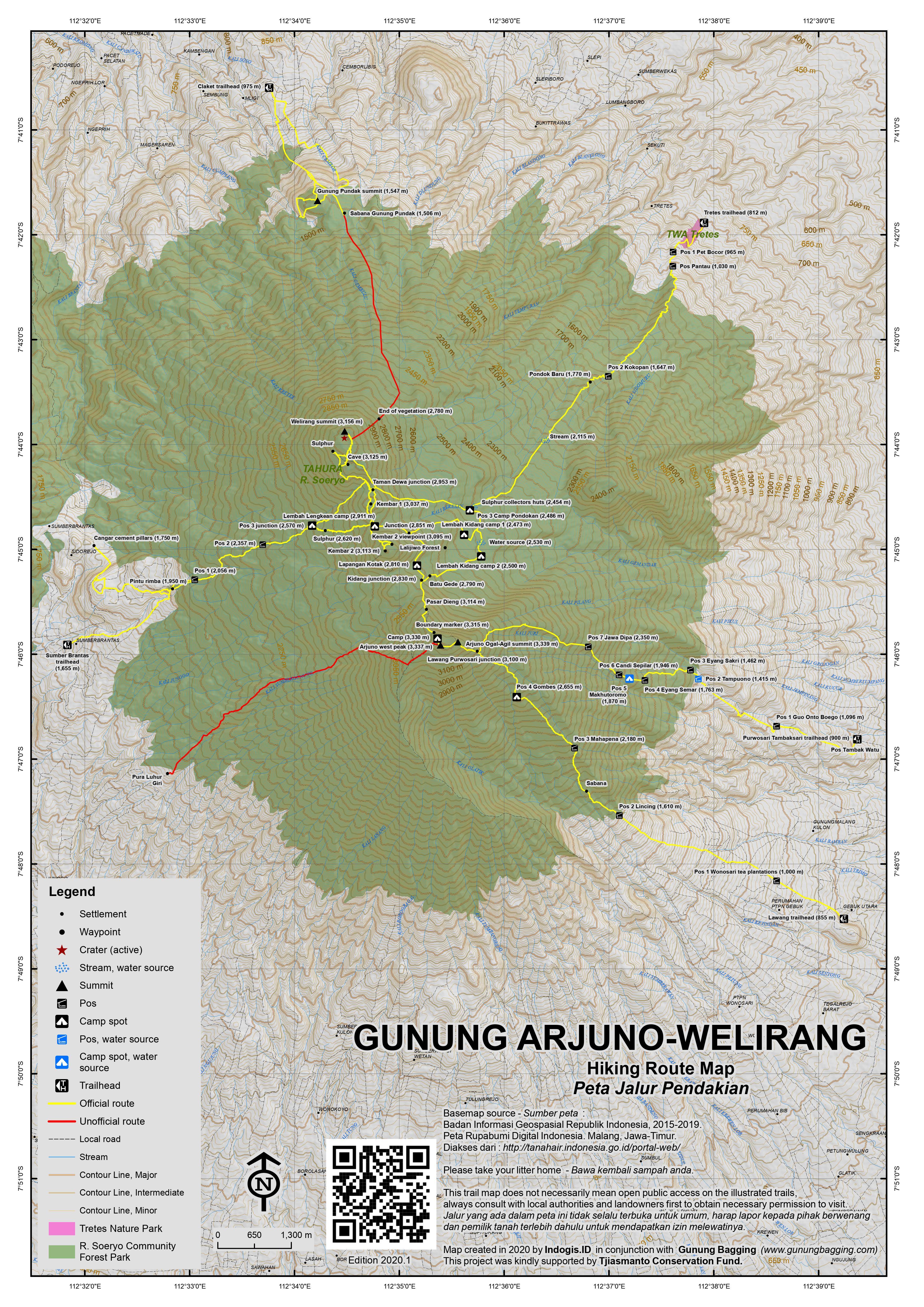 Peta Jalur Pendakian Gunung Arjuno-Welirang