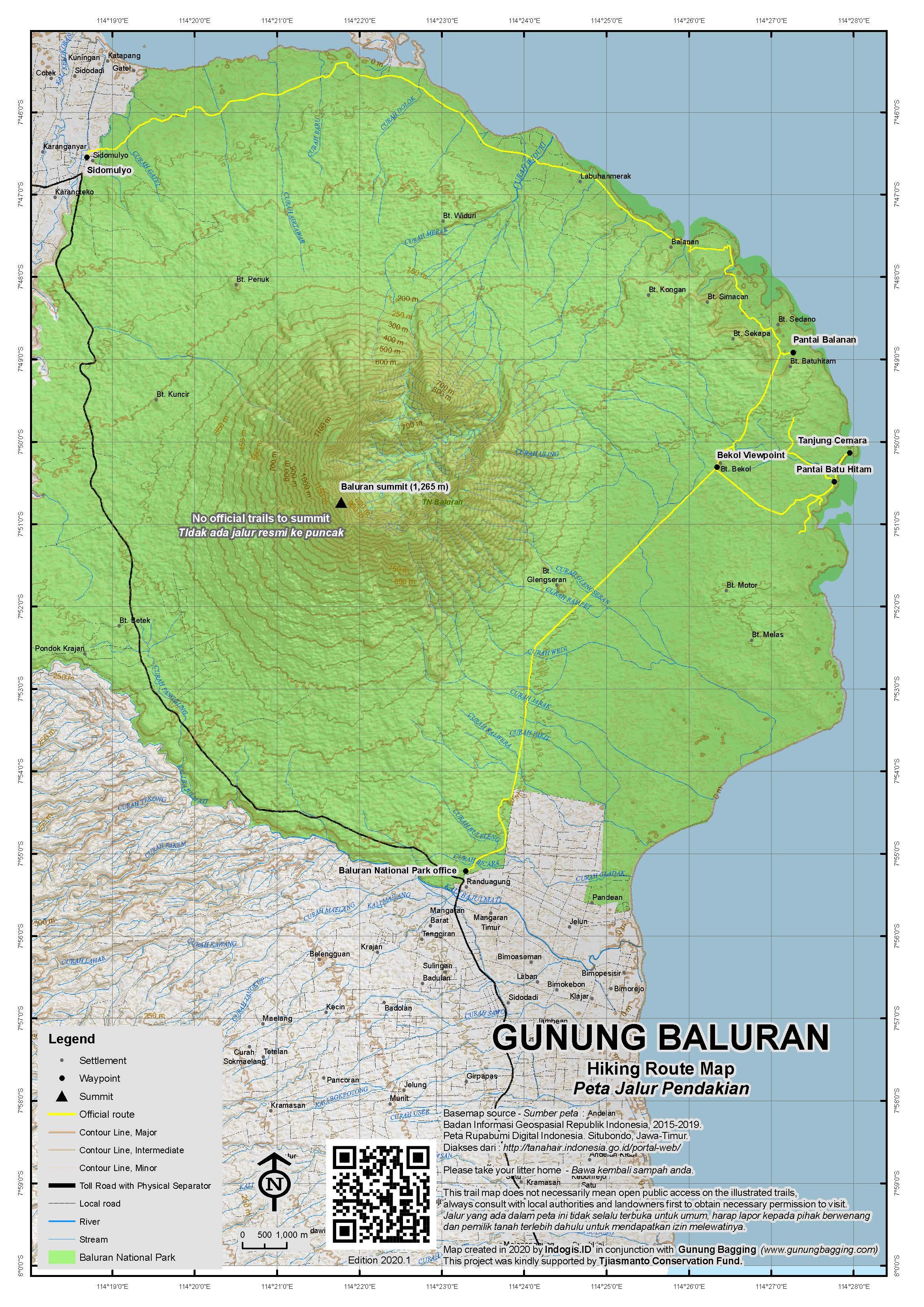 Peta Jalur Pendakian Gunung Baluran