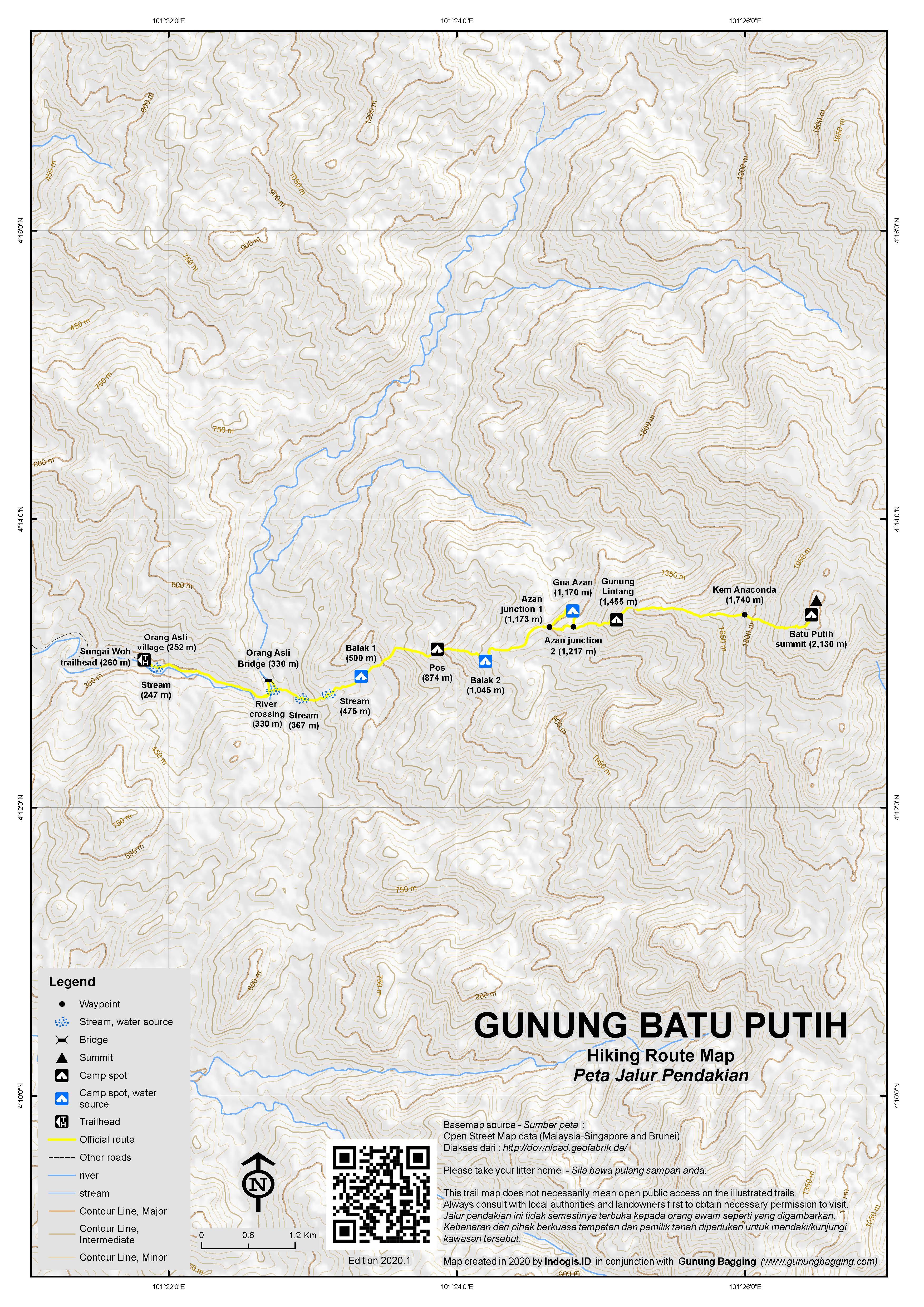 Peta Jalur Pendakian Gunung Batu Putih