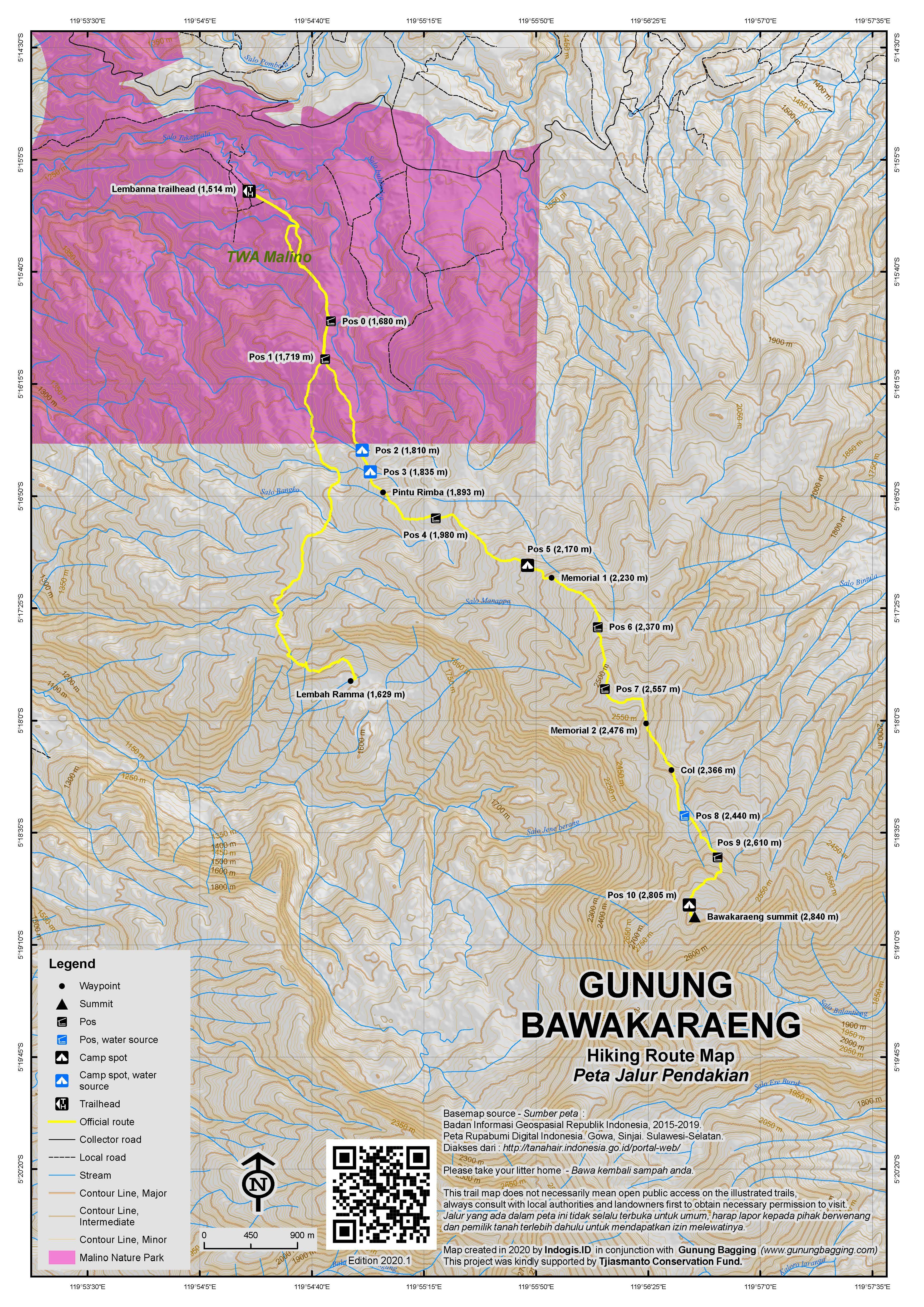 Peta Jalur Pendakian Gunung Bawakaraeng