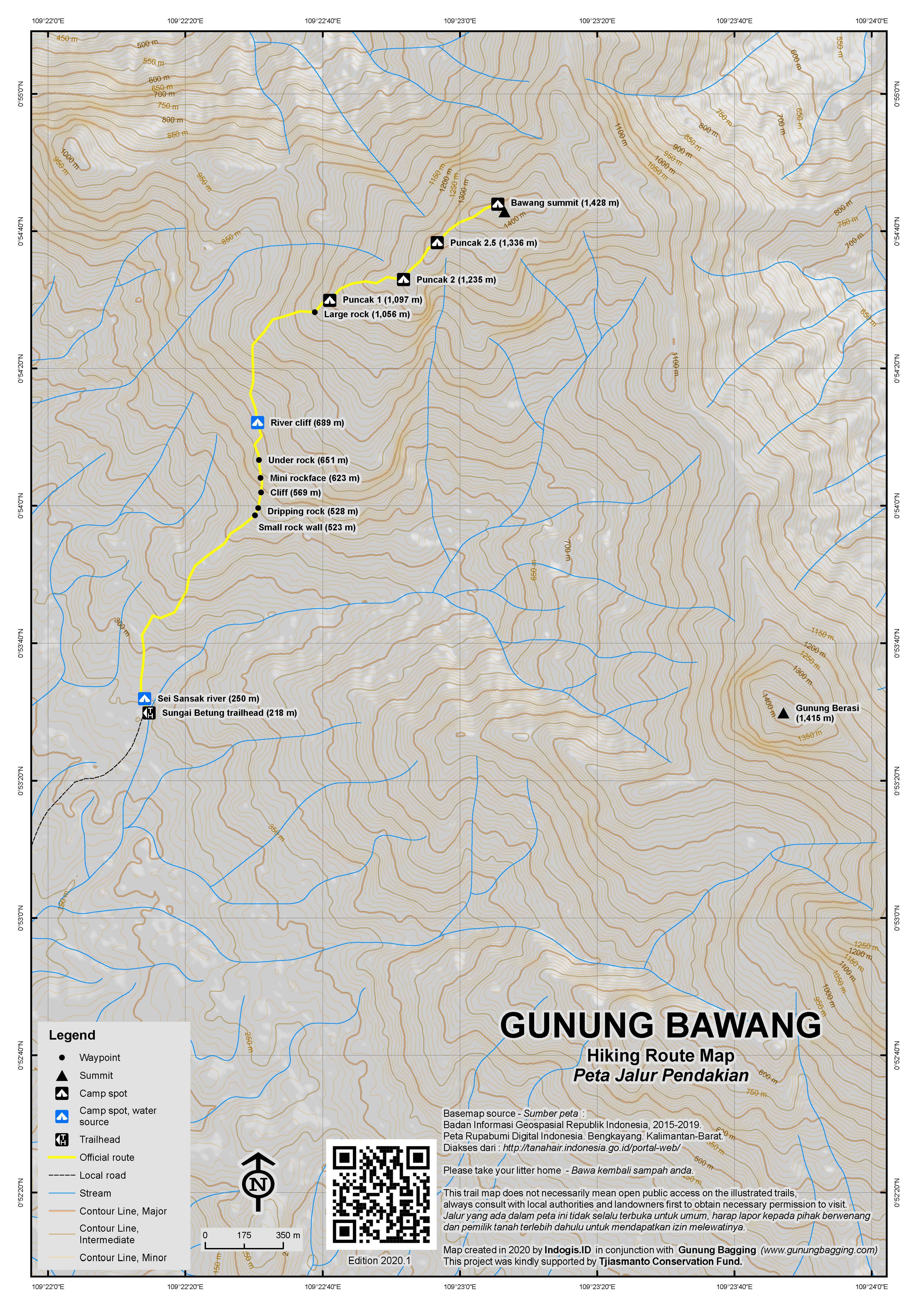 Peta Jalur Pendakian Gunung Bawang