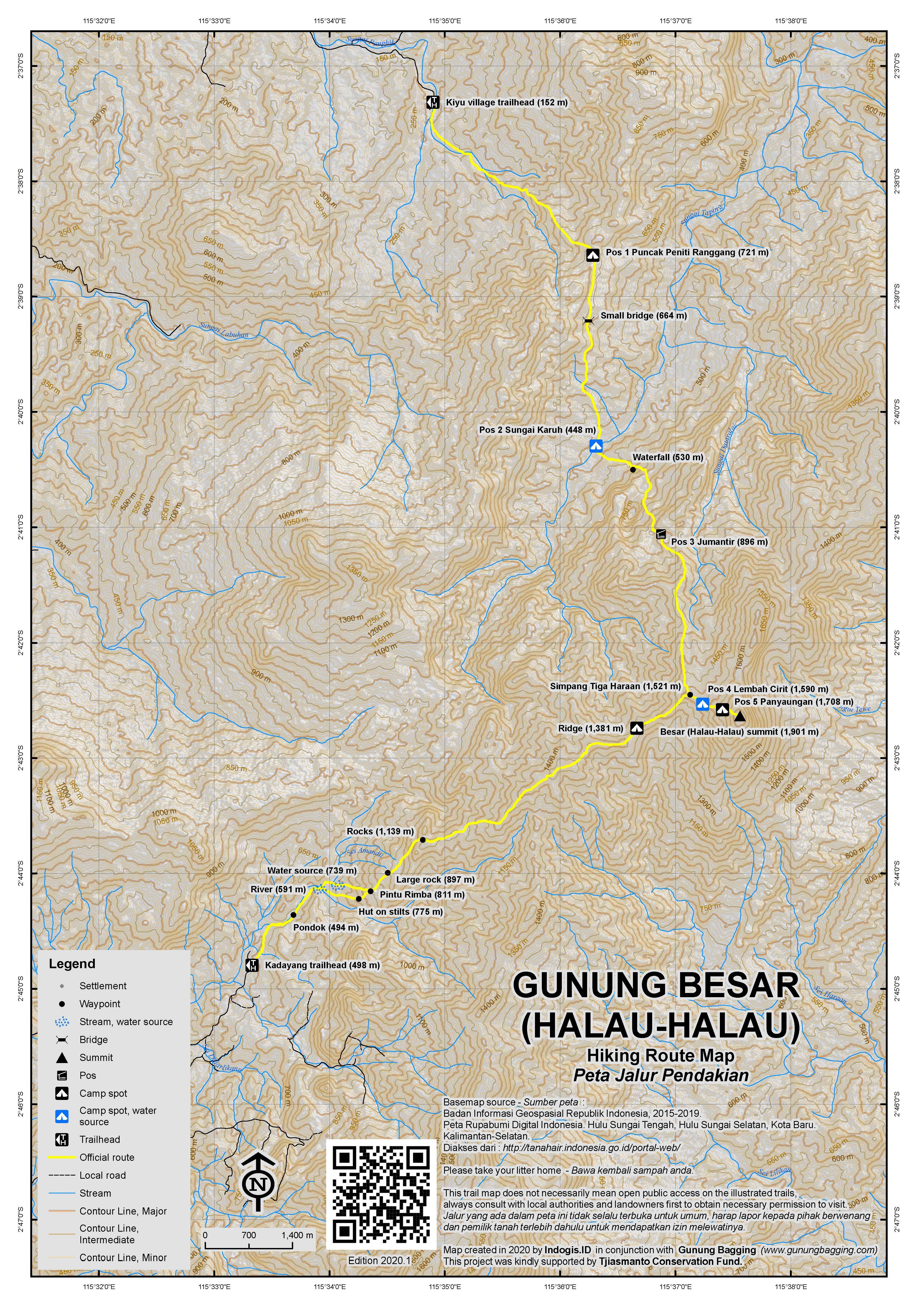 Peta Jalur Pendakian Gunung Besar