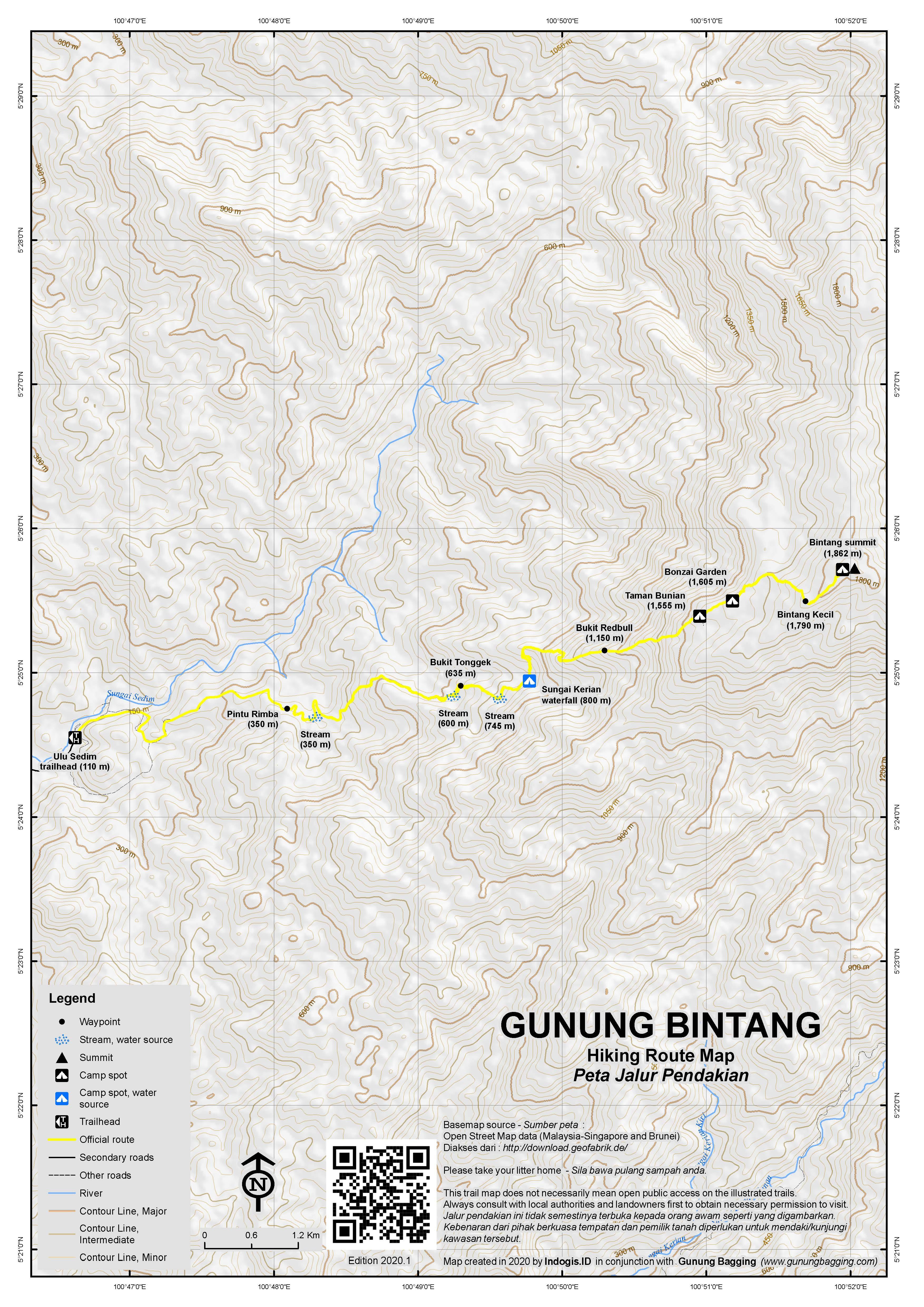 Peta Jalur Pendakian Gunung Bintang