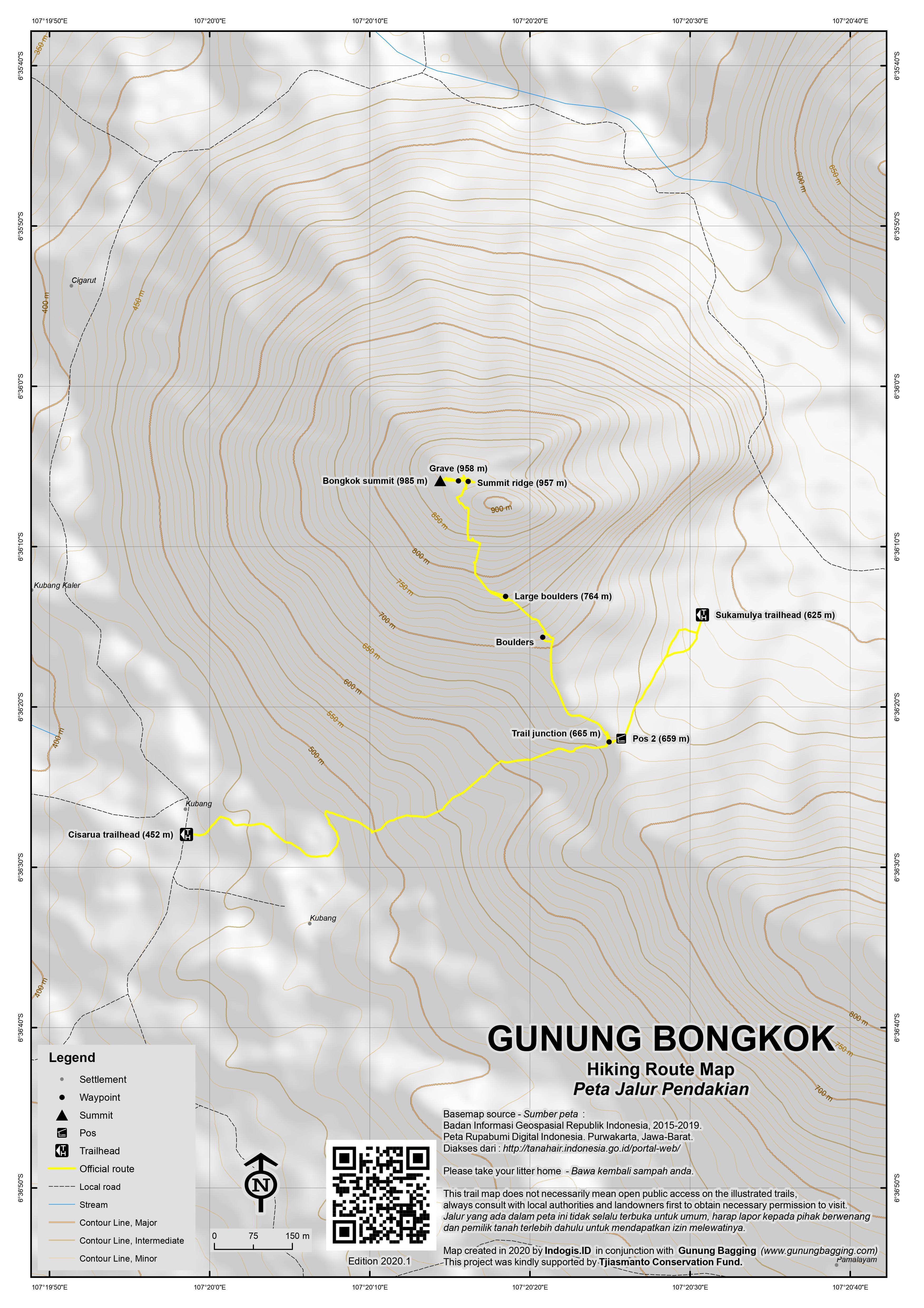 Peta Jalur Pendakian Gunung Bongkok