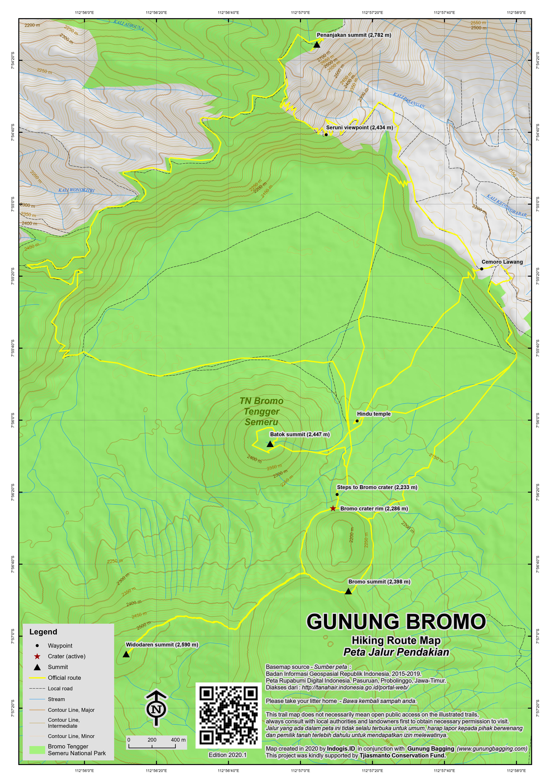 Peta Jalur Pendakian Gunung Bromo