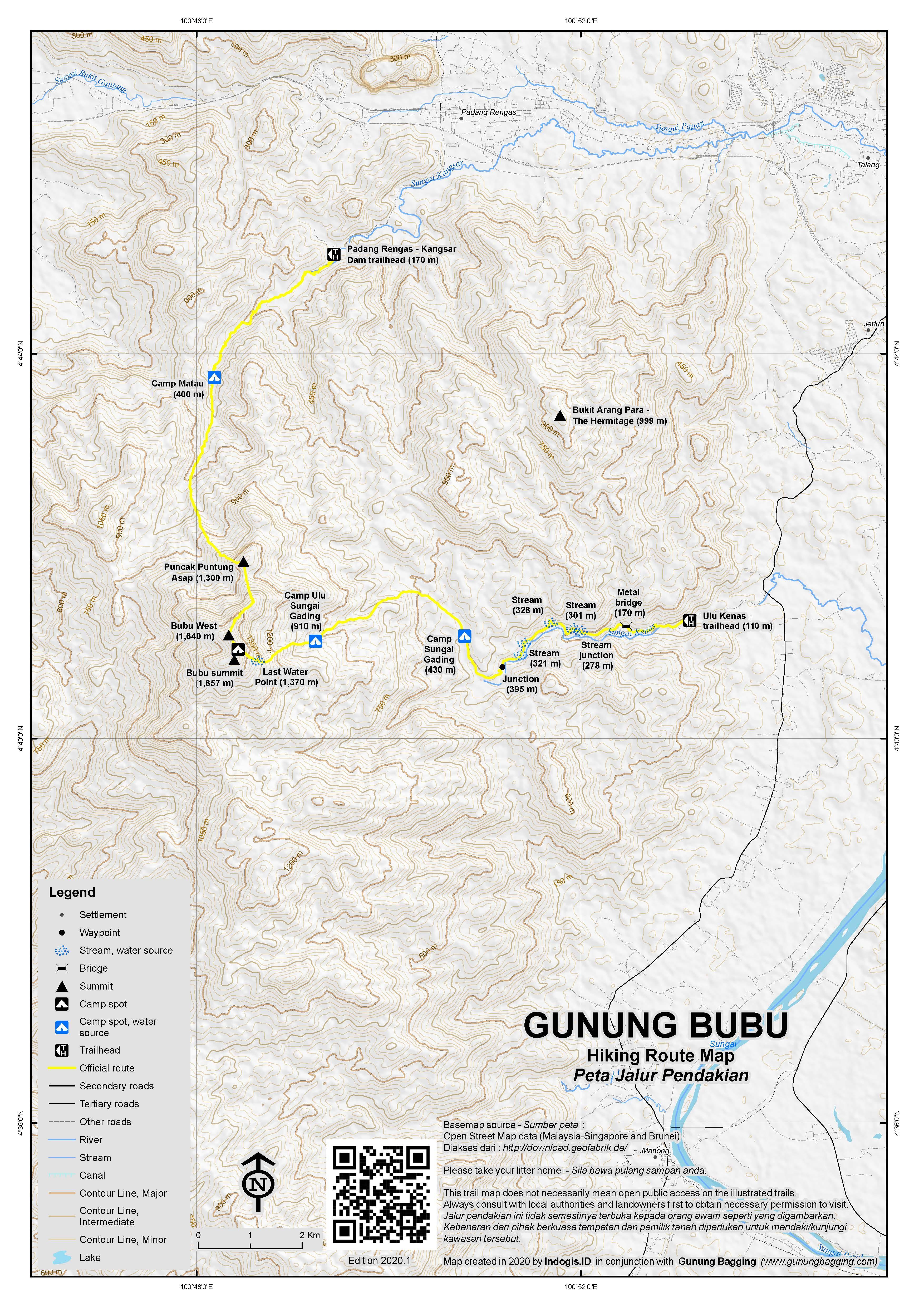 Peta Jalur Pendakian Gunung Bubu