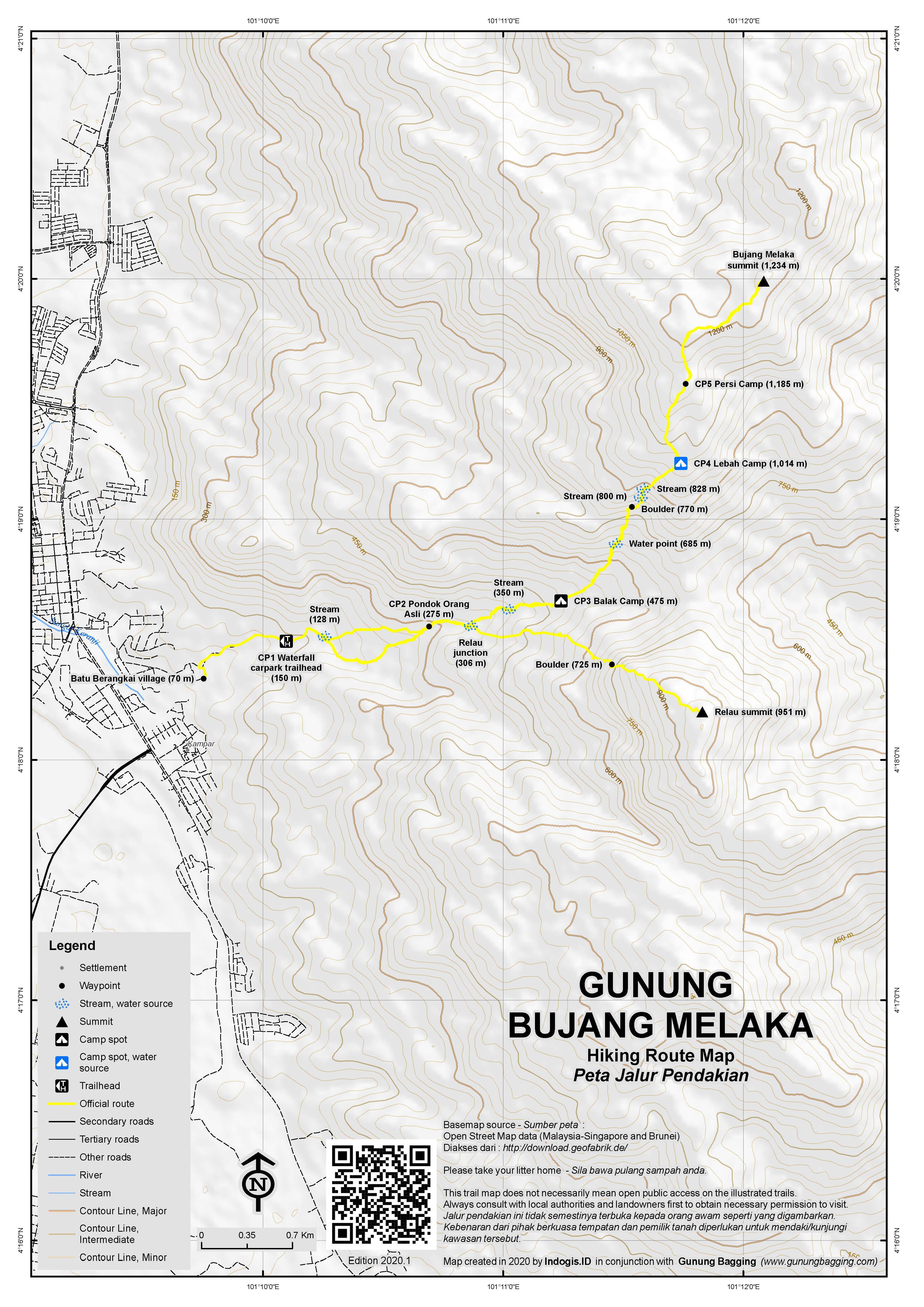 Peta Jalur Pendakian Gunung Bujang Melaka