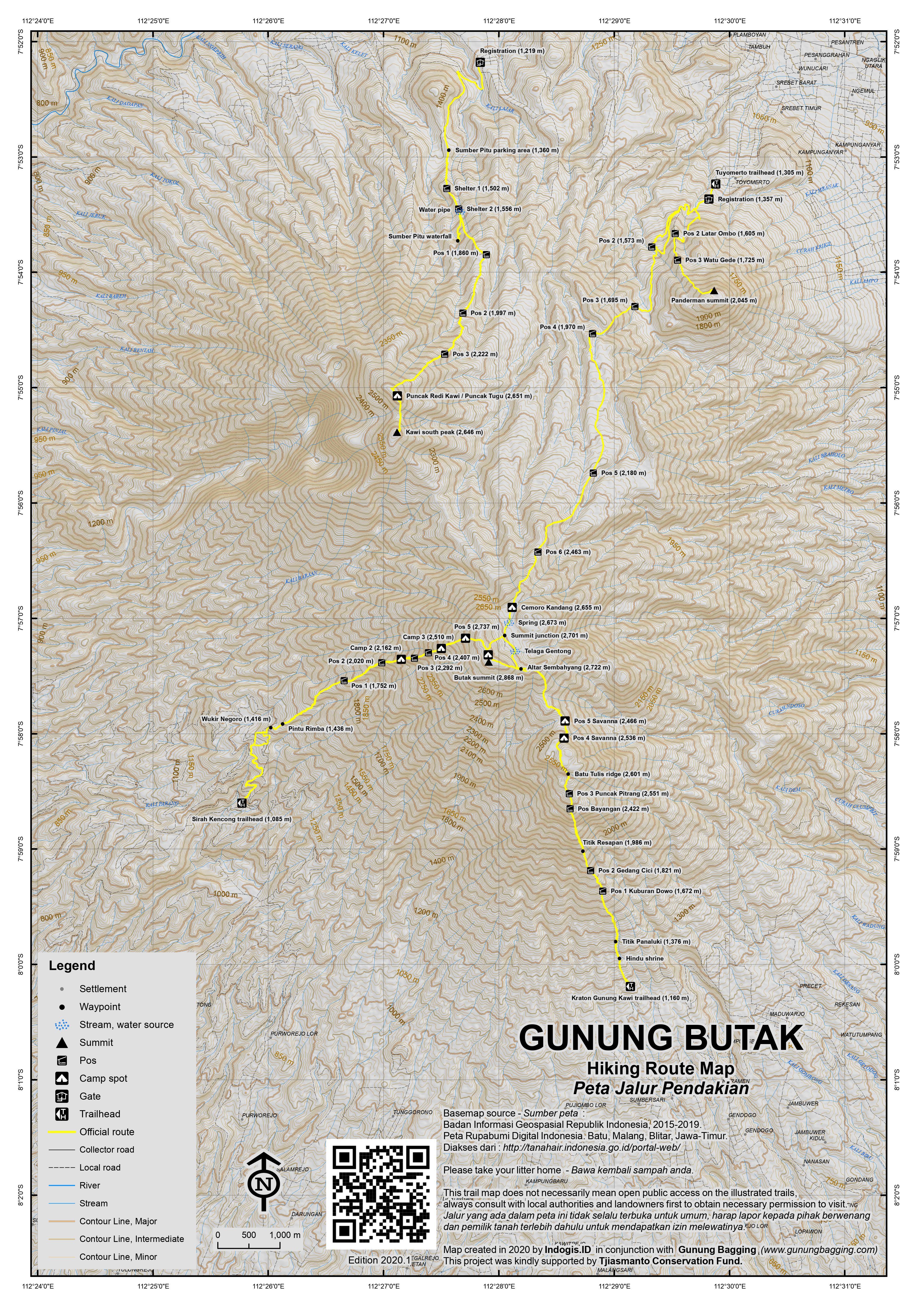 Peta Jalur Pendakian Gunung Butak