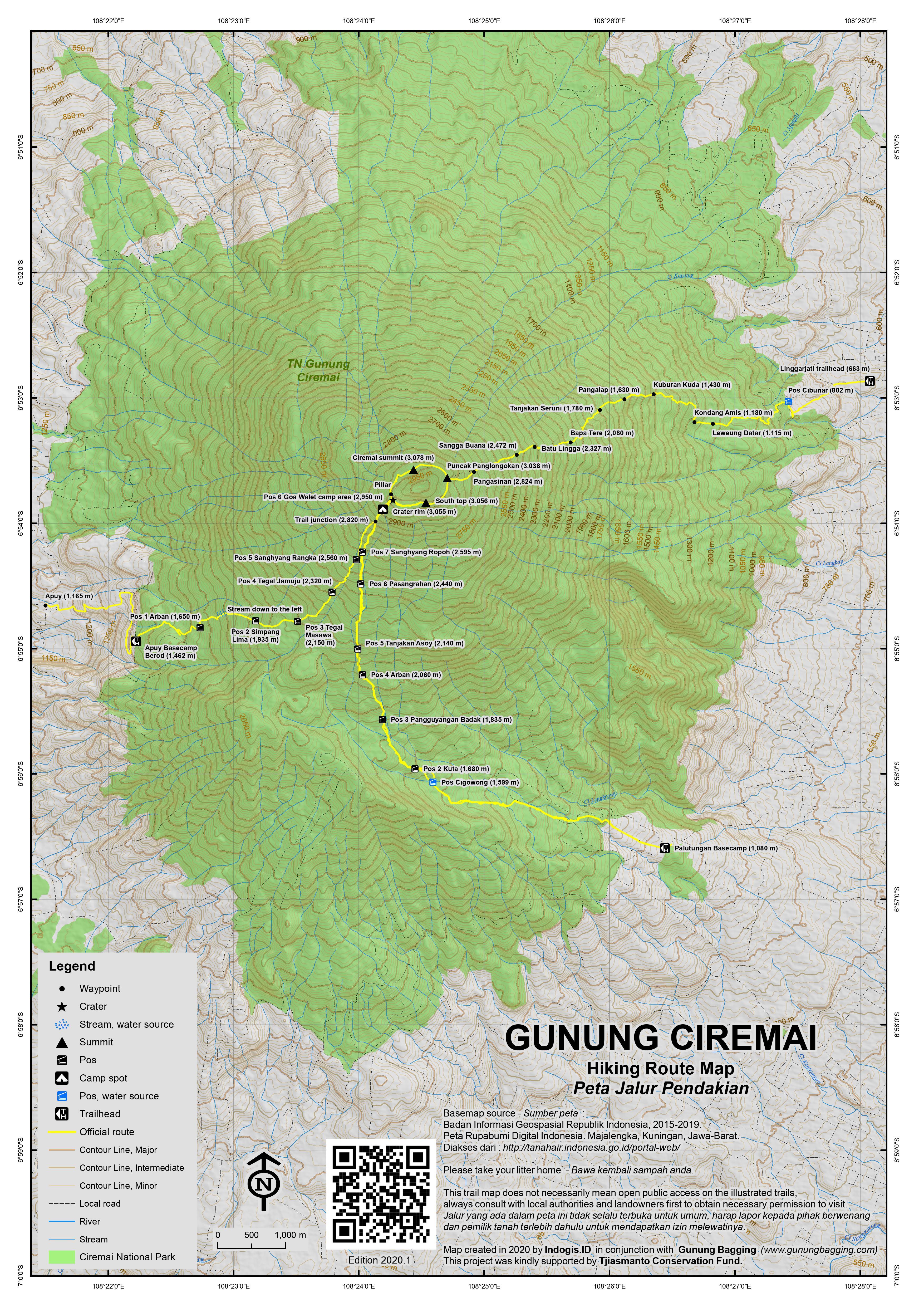 Peta Jalur Pendakian Gunung Ciremai