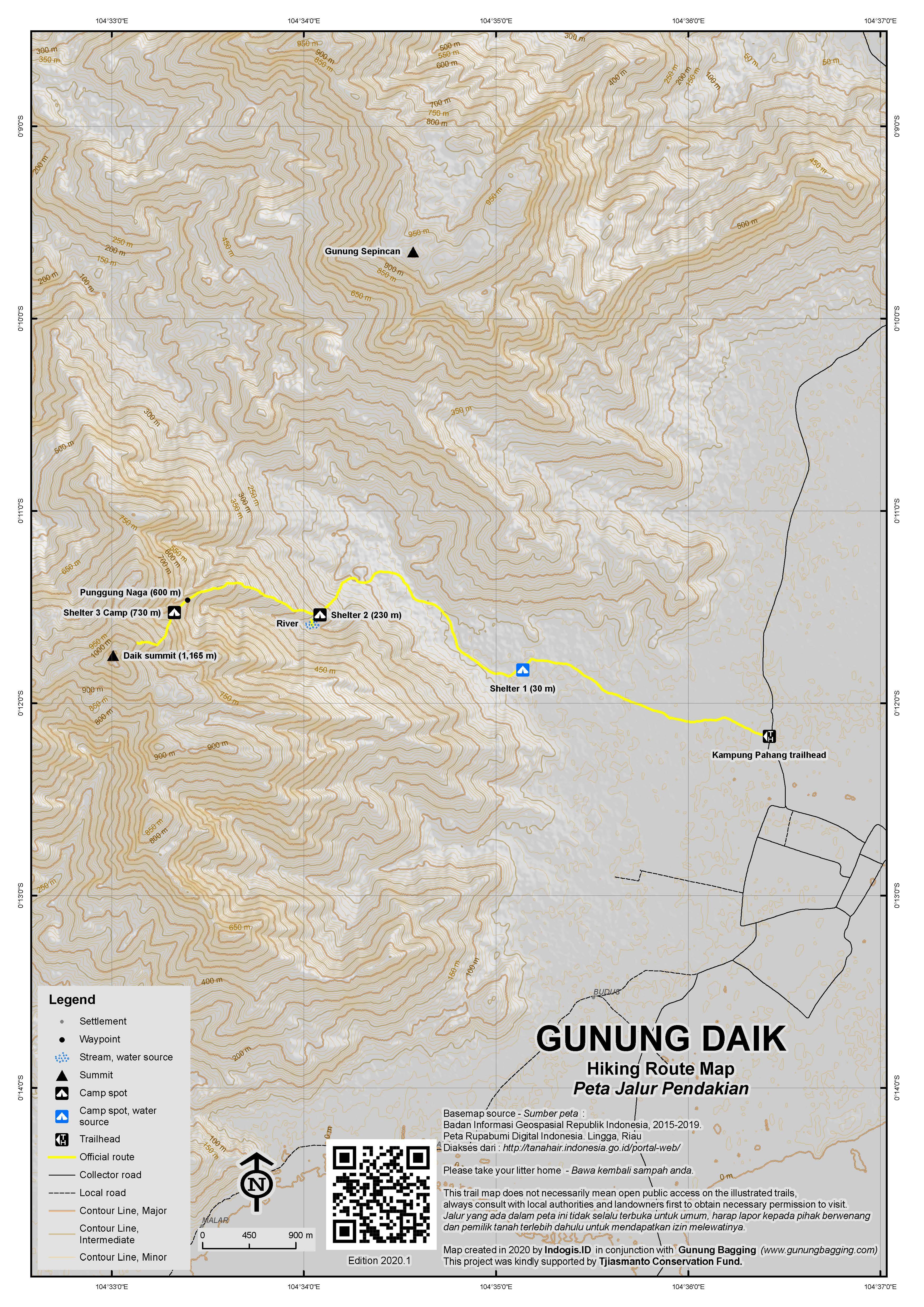 Peta Jalur Pendakian Gunung Daik