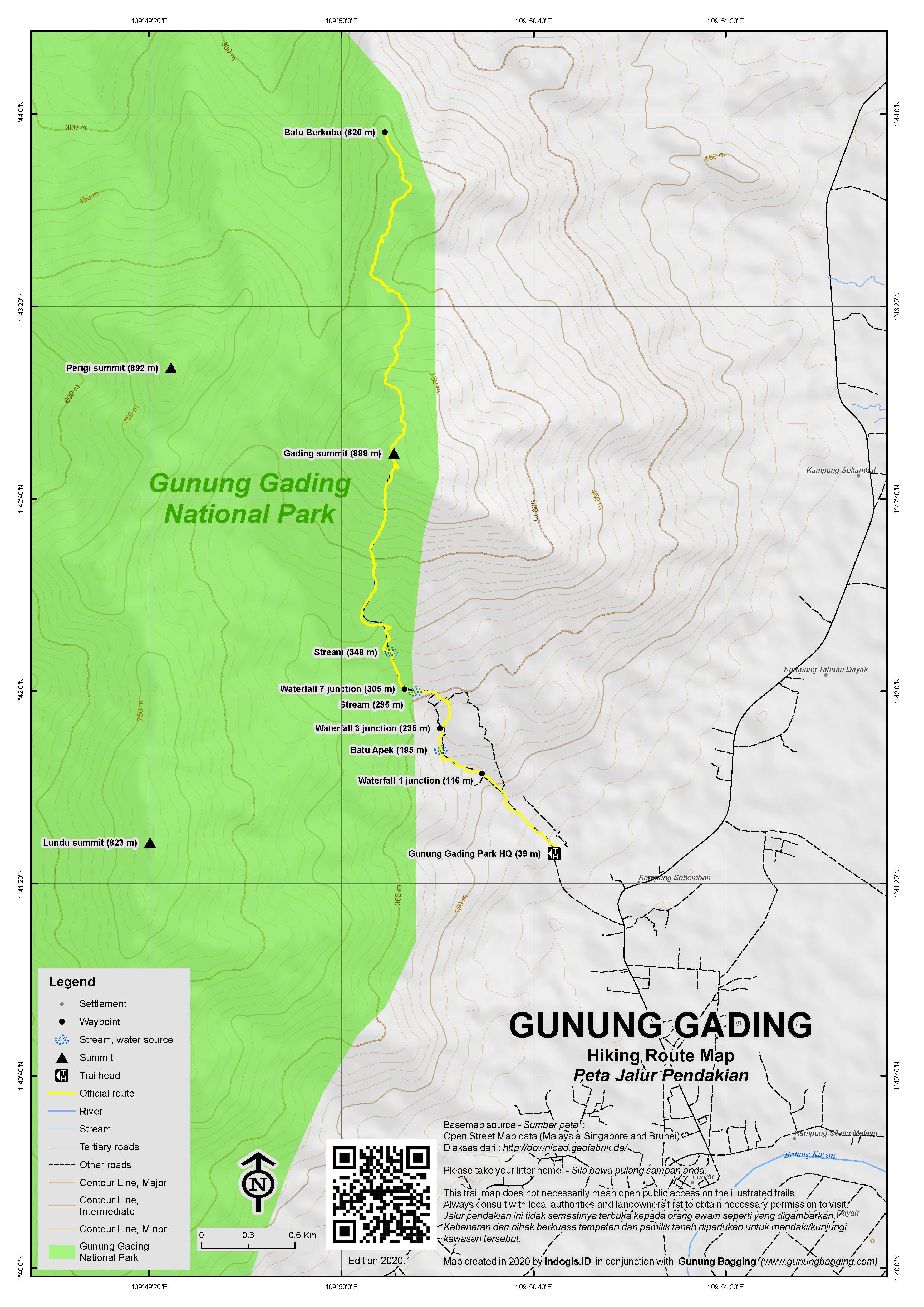 Peta Jalur Pendakian Gunung Gading
