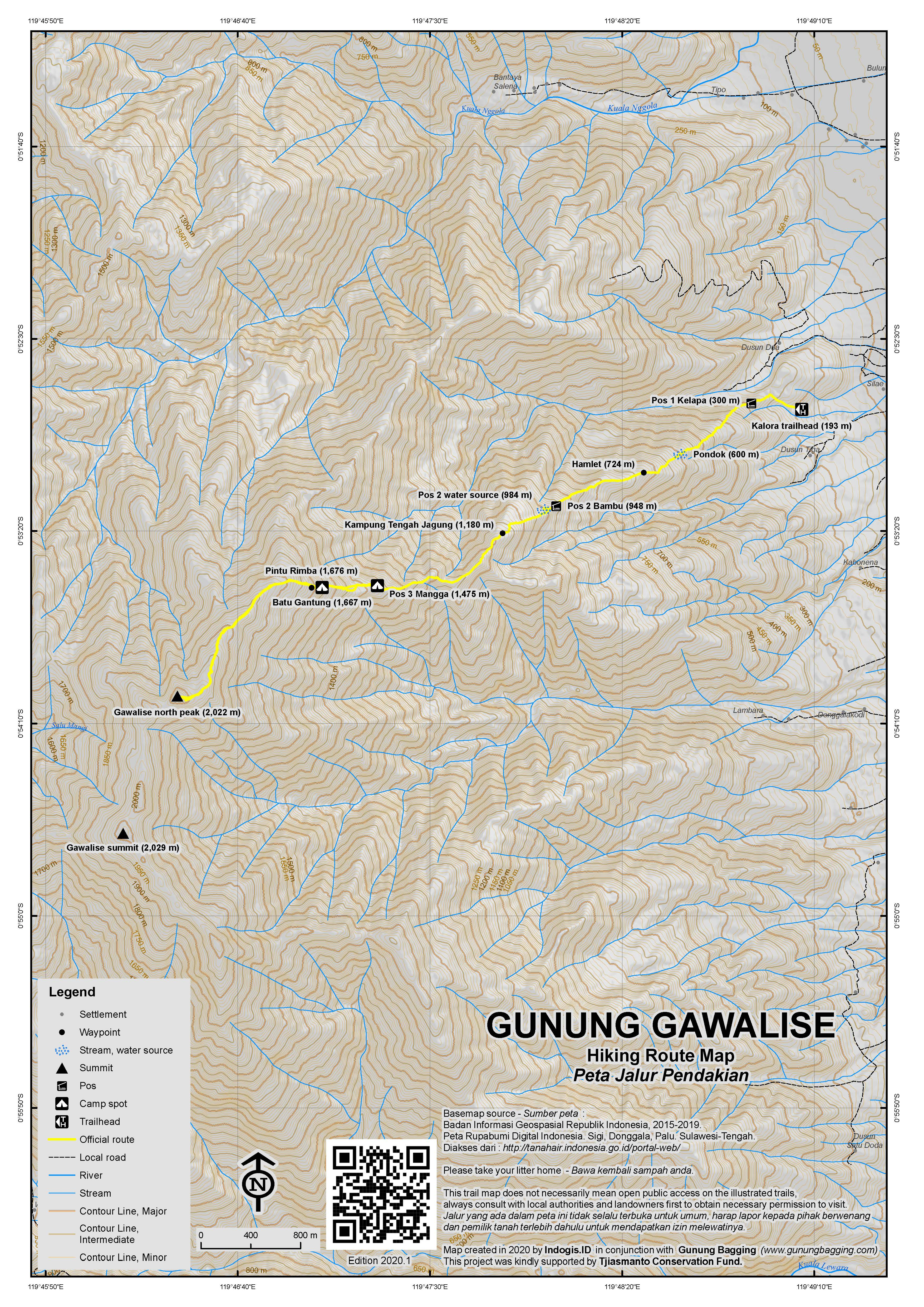 Peta Jalur Pendakian Gunung Gawalise