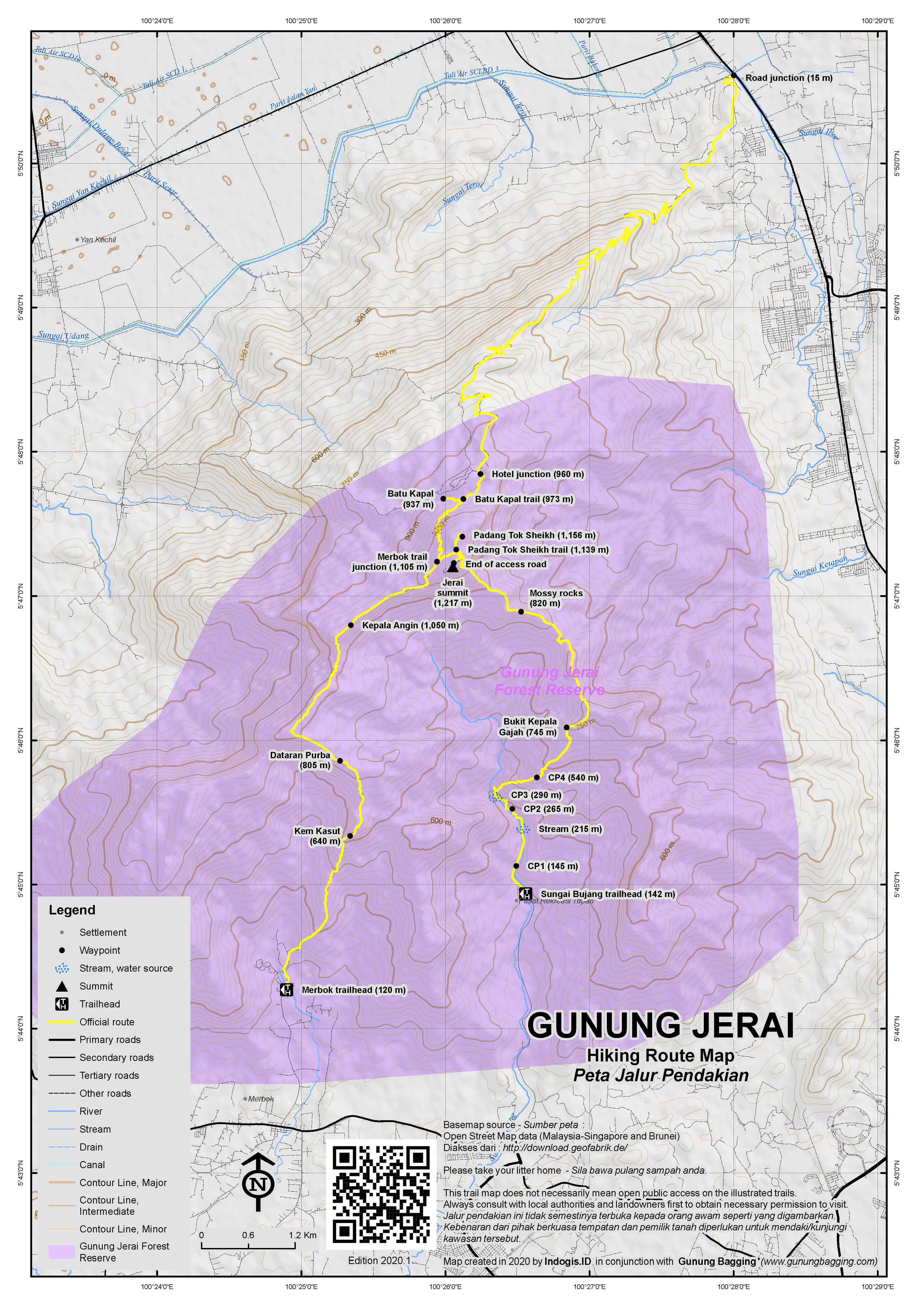 Peta Jalur Pendakian Gunung Jerai