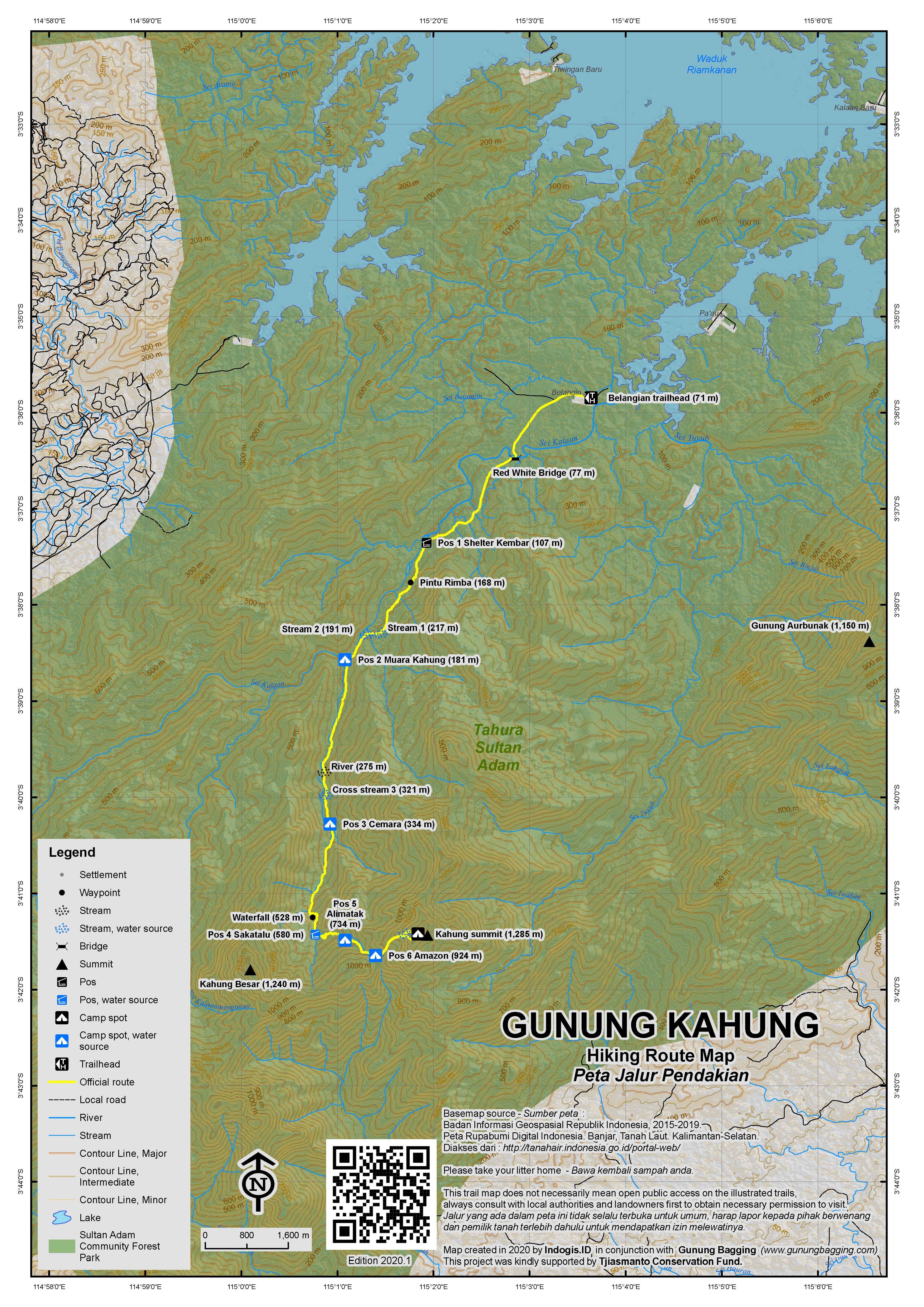 Peta Jalur Pendakian Gunung Kahung