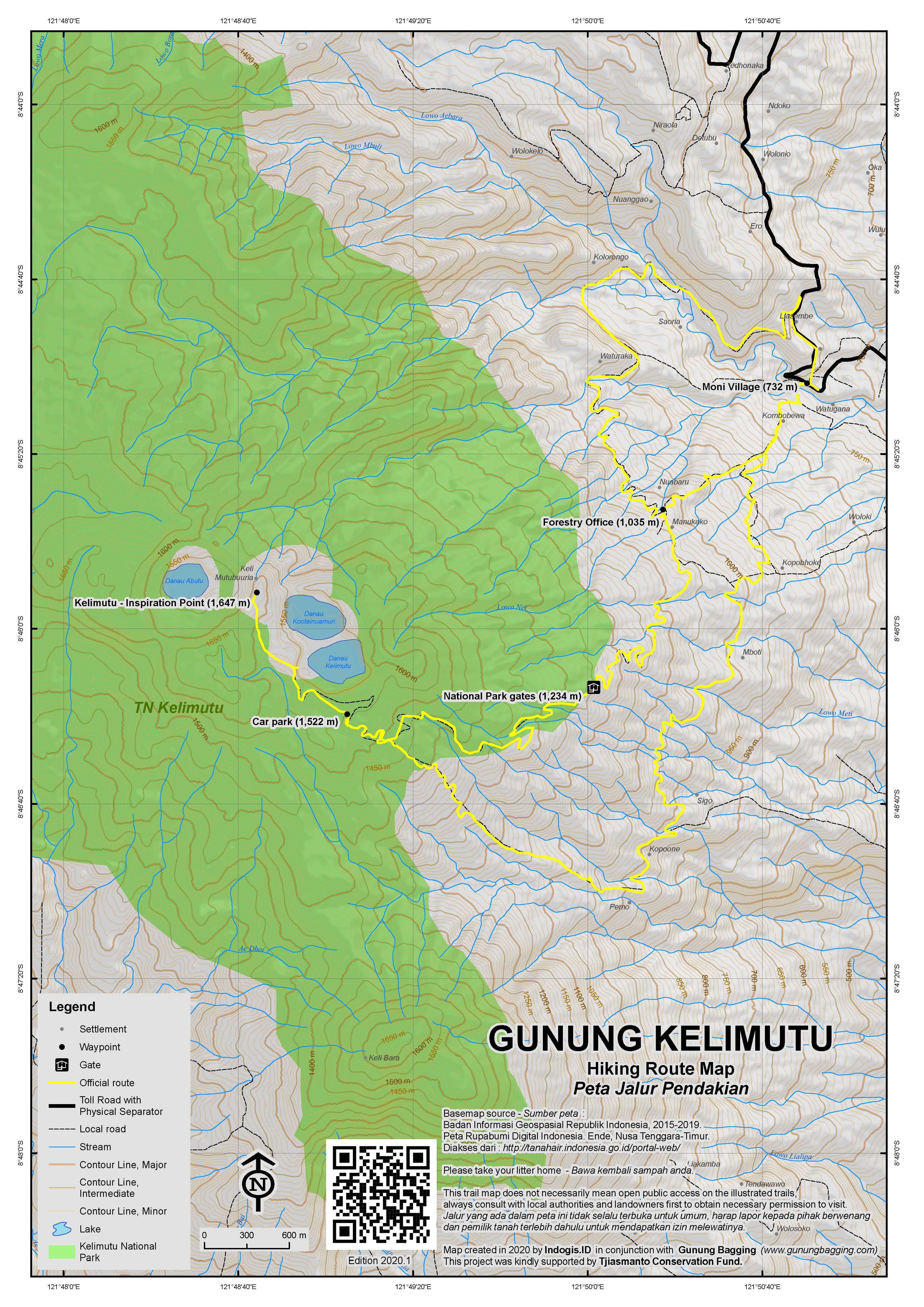 Peta Jalur Pendakian Gunung Kelimutu