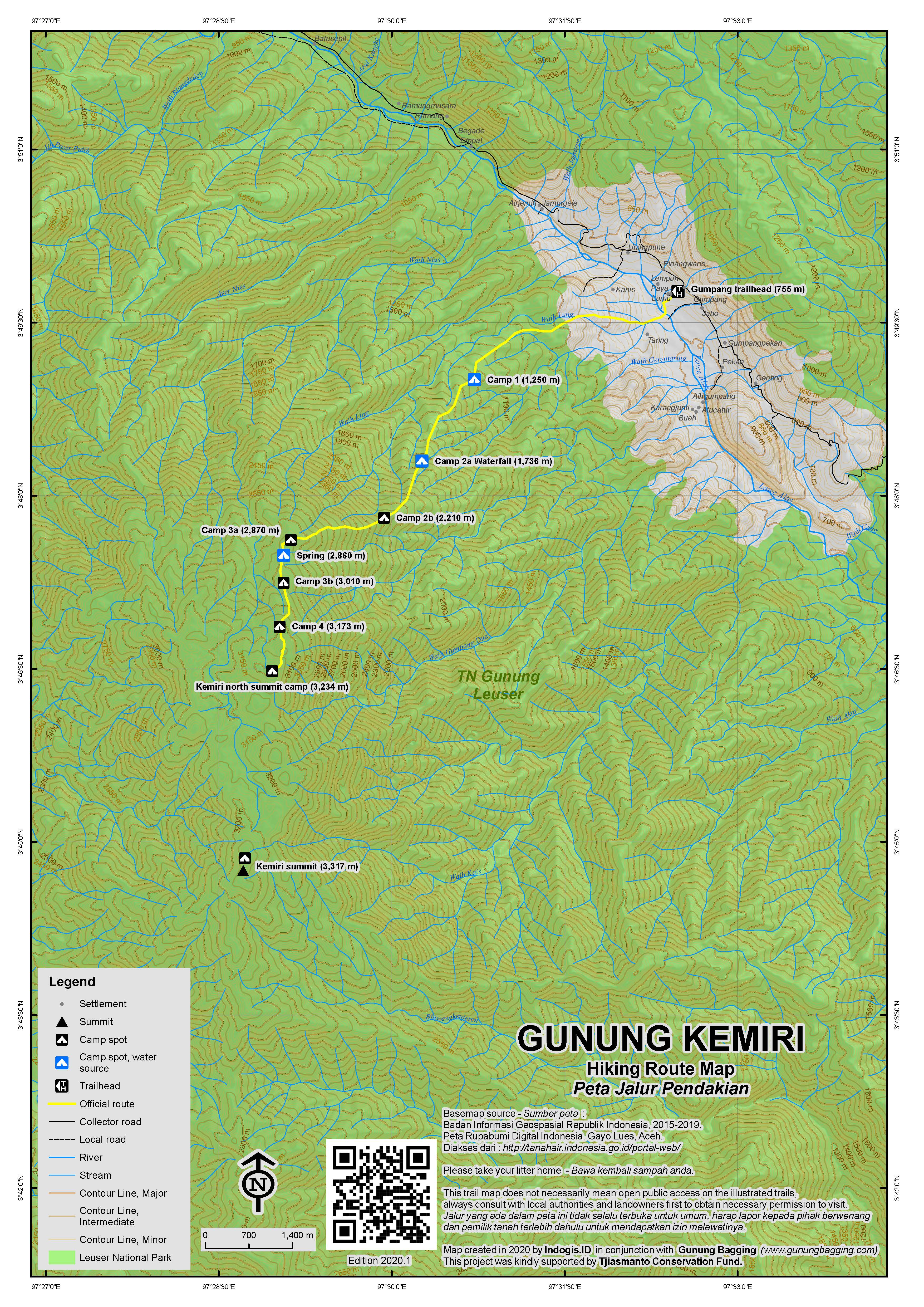 Peta Jalur Pendakian Gunung Kemiri