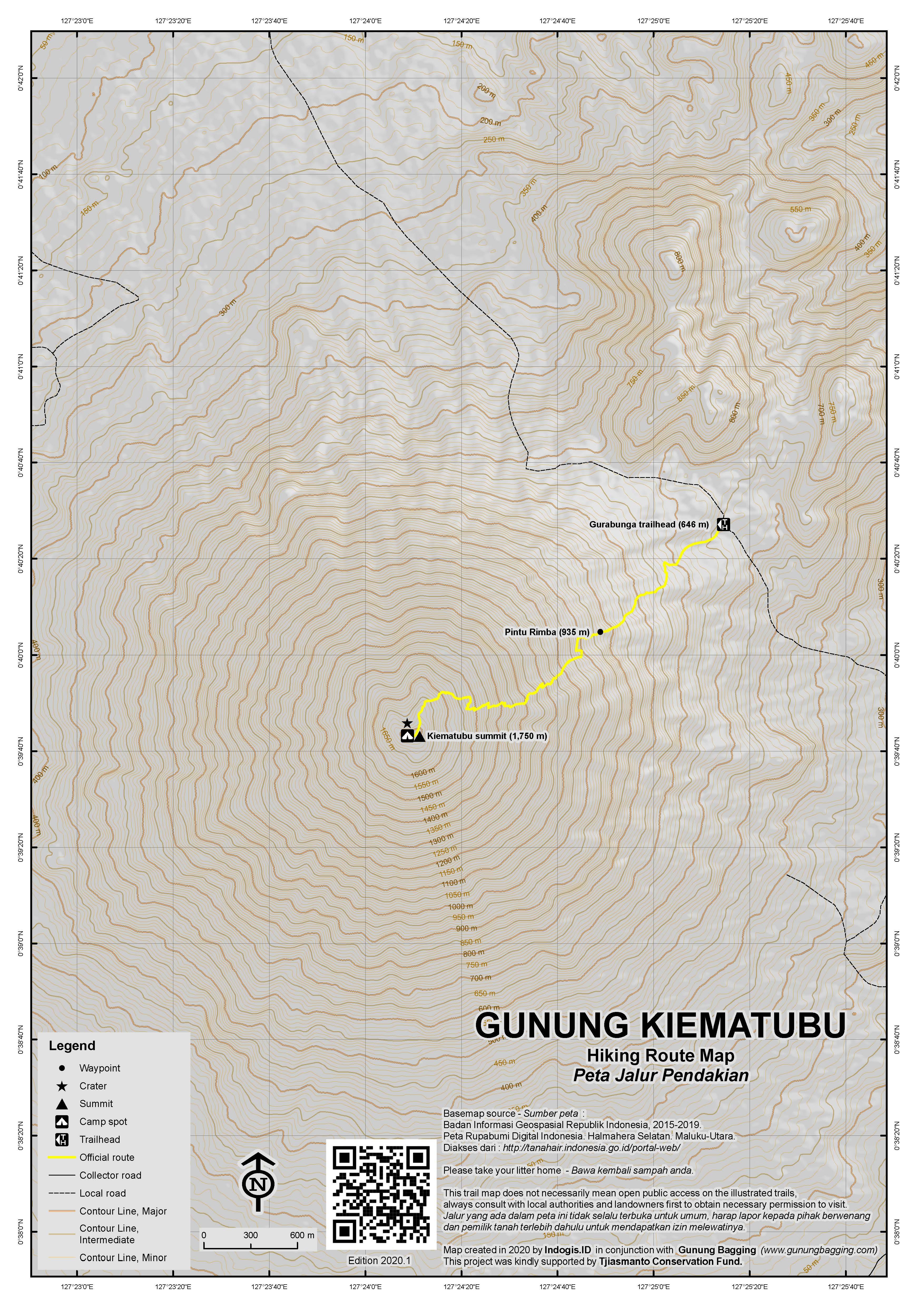 Peta Jalur Pendakian Gunung Kiematubu