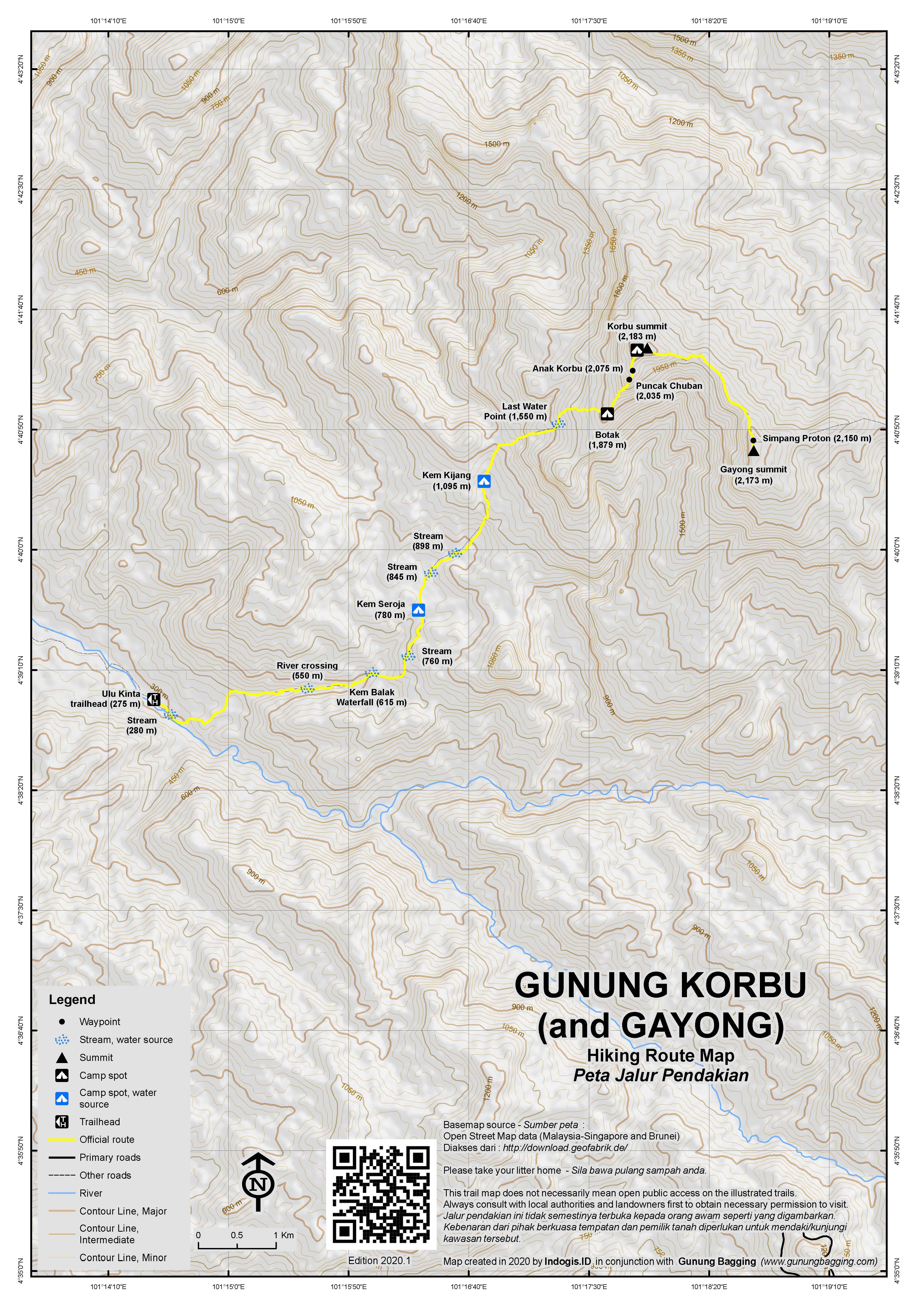 Peta Jalur Pendakian Gunung Korbu