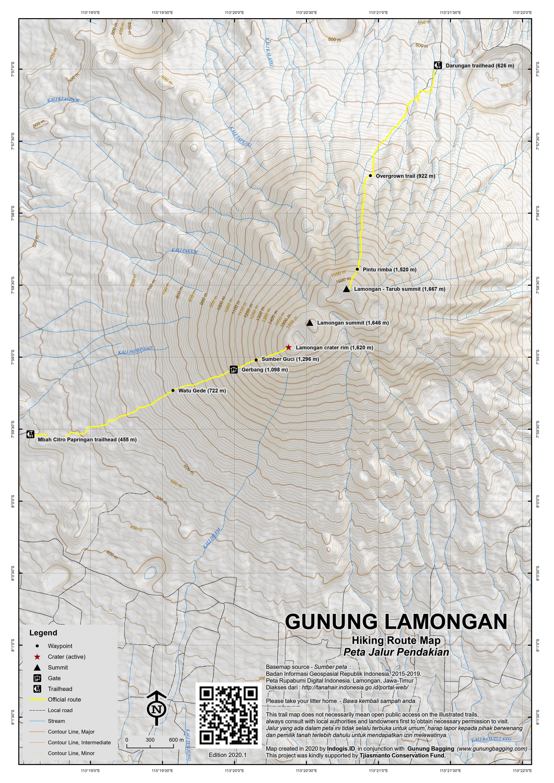 Peta Jalur Pendakian Gunung Lamongan