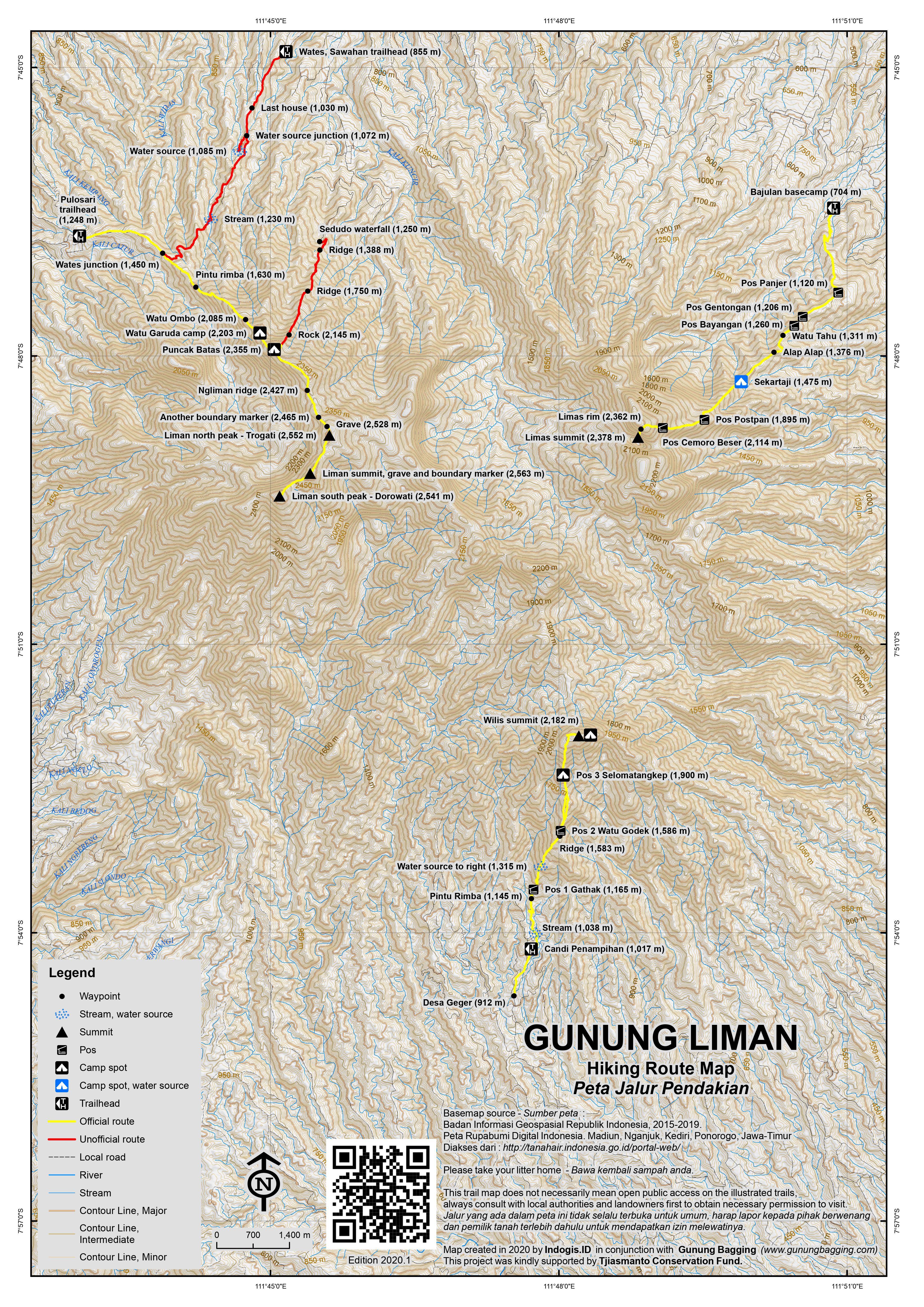 Peta Jalur Pendakian Gunung Liman