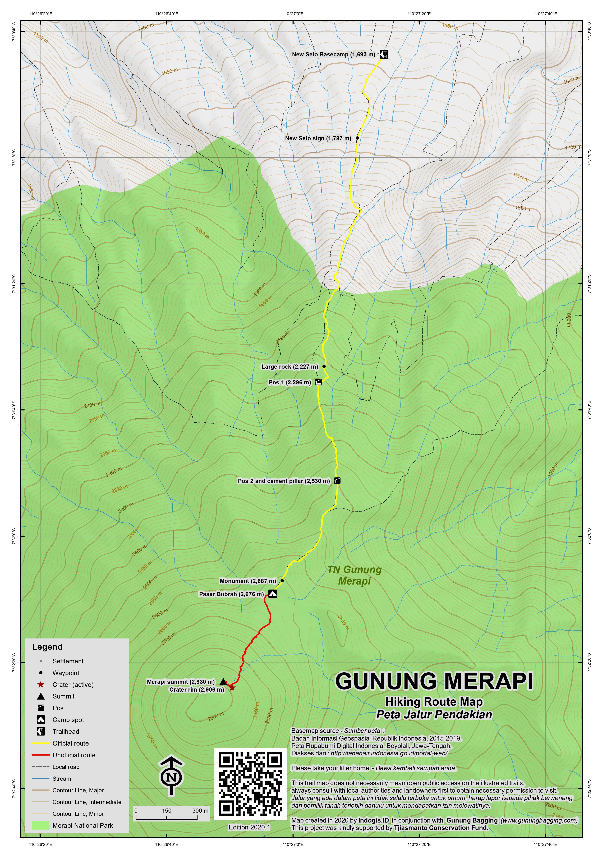 Peta Jalur Pendakian Gunung Merapi