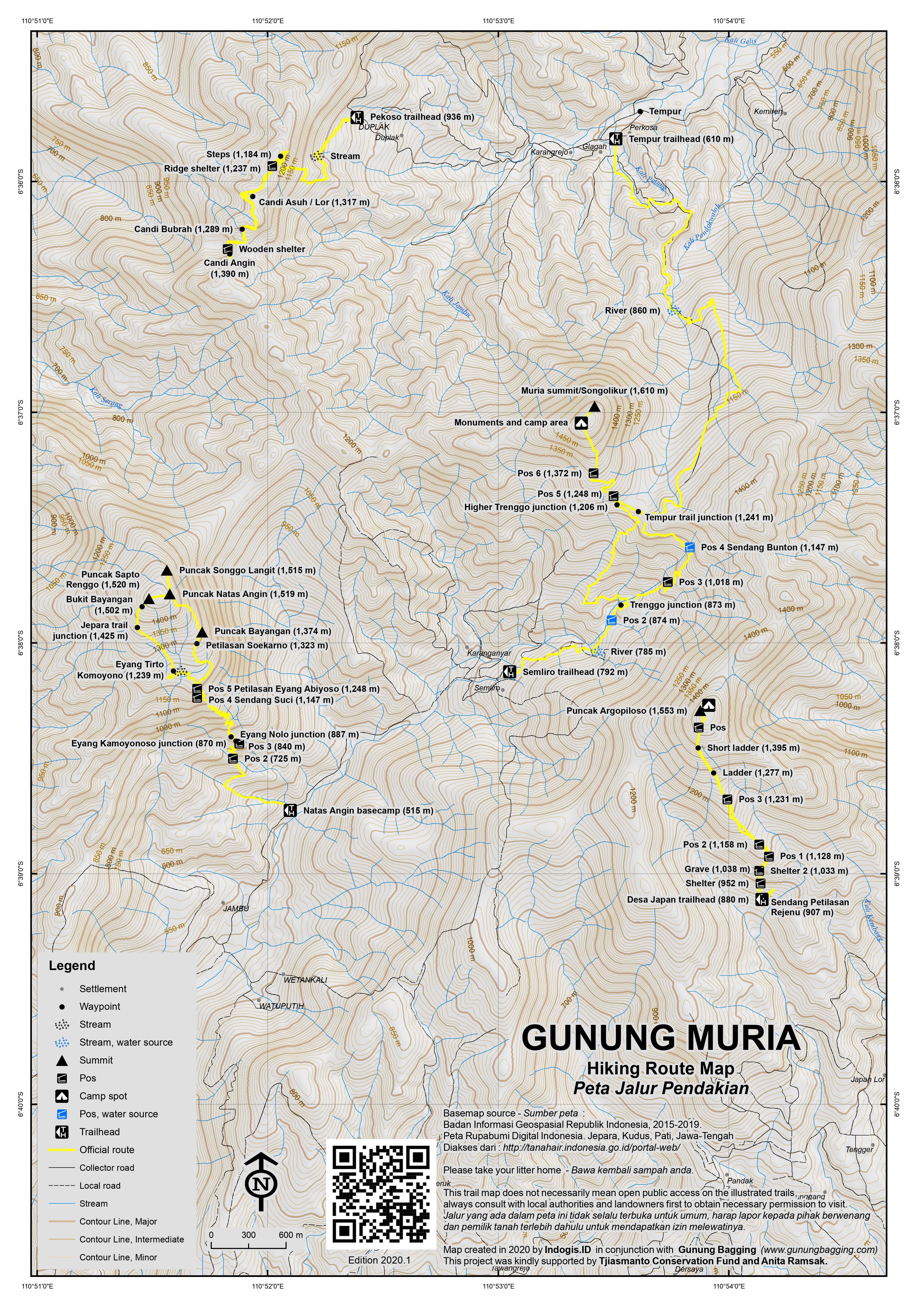 Peta Jalur Pendakian Gunung Muria