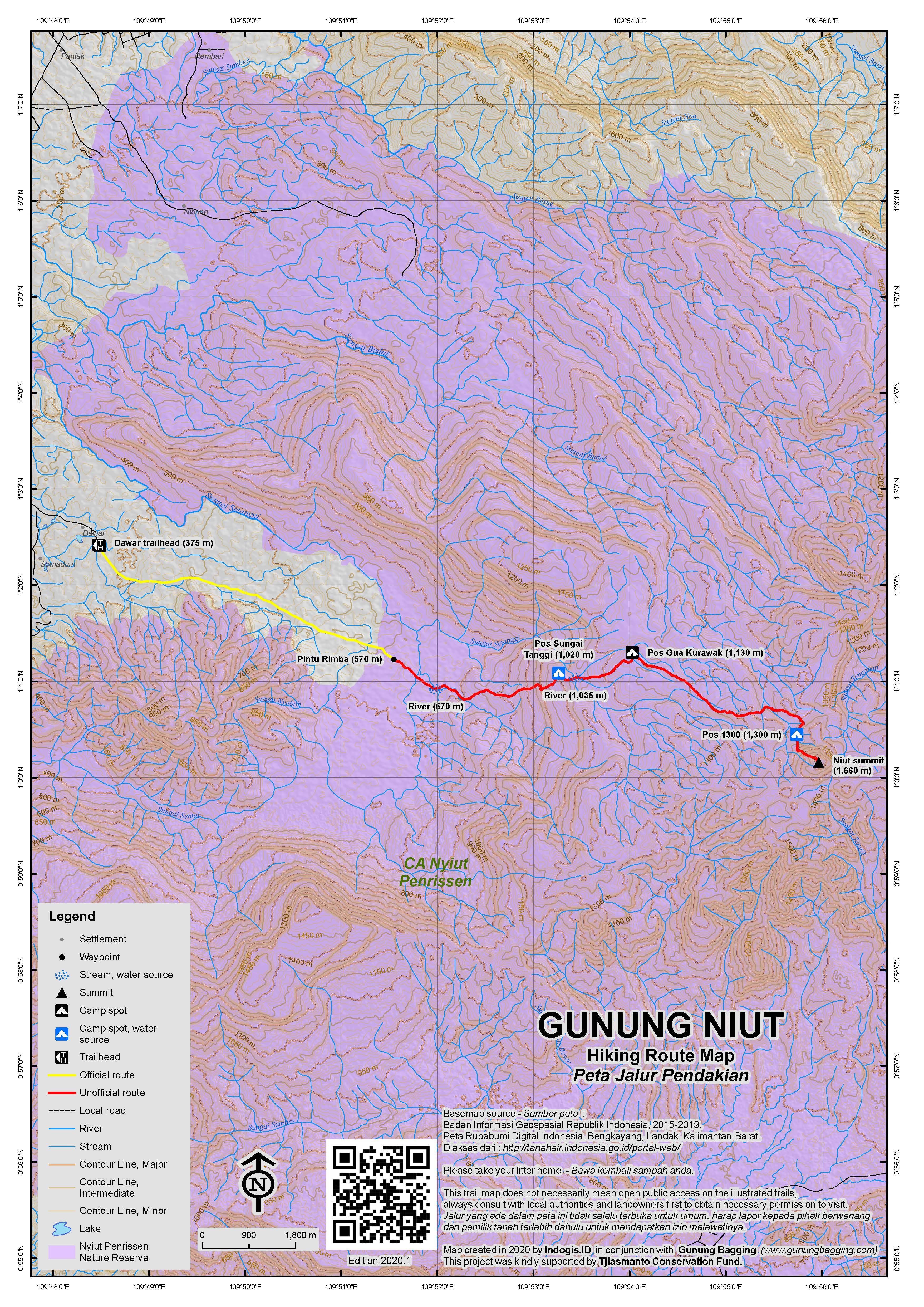 Peta Jalur Pendakian Gunung Niut