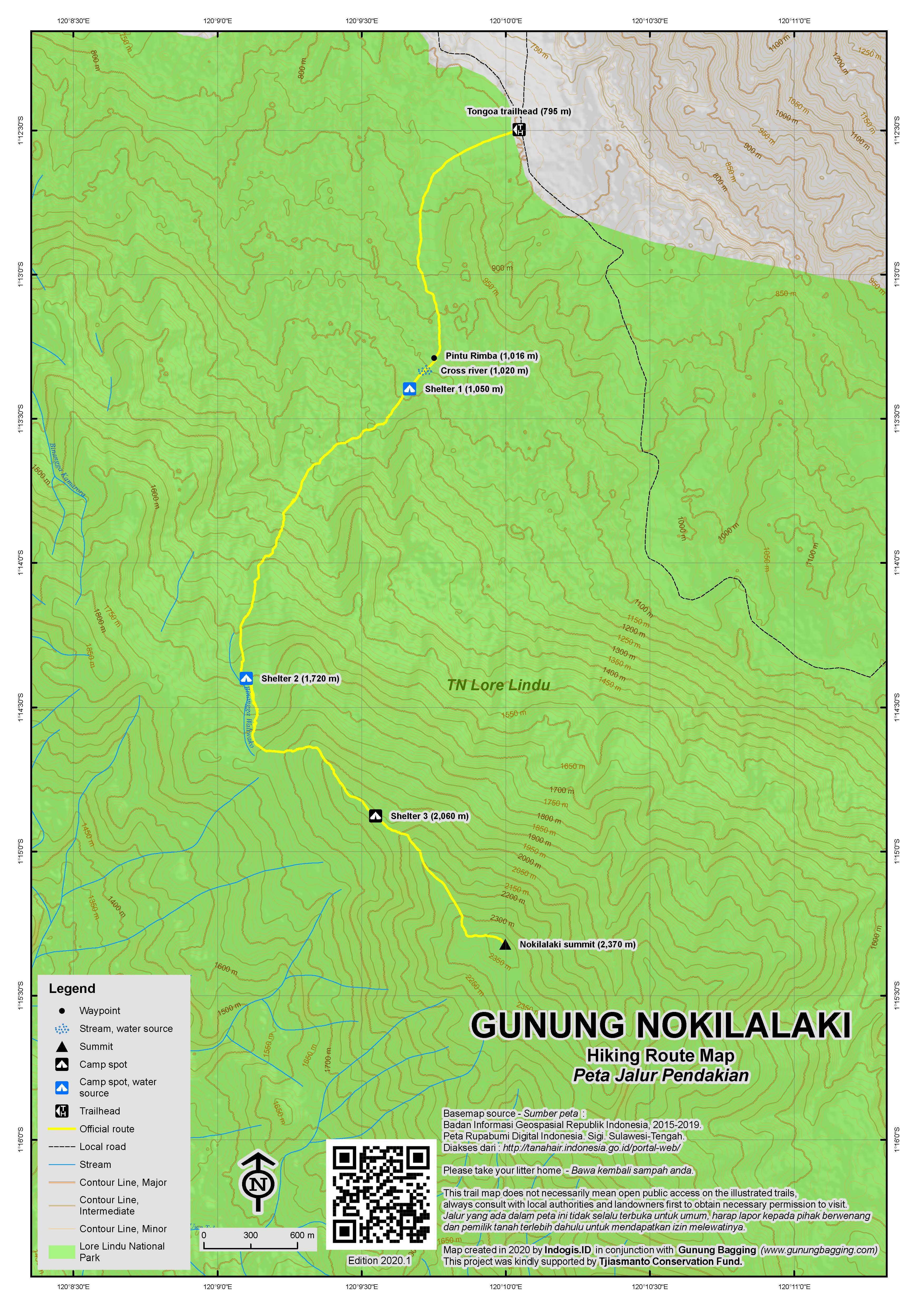 Peta Jalur Pendakian Gunung Nokilalaki
