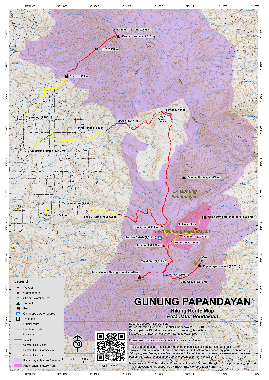 Peta Jalur Pendakian Gunung Papandayan