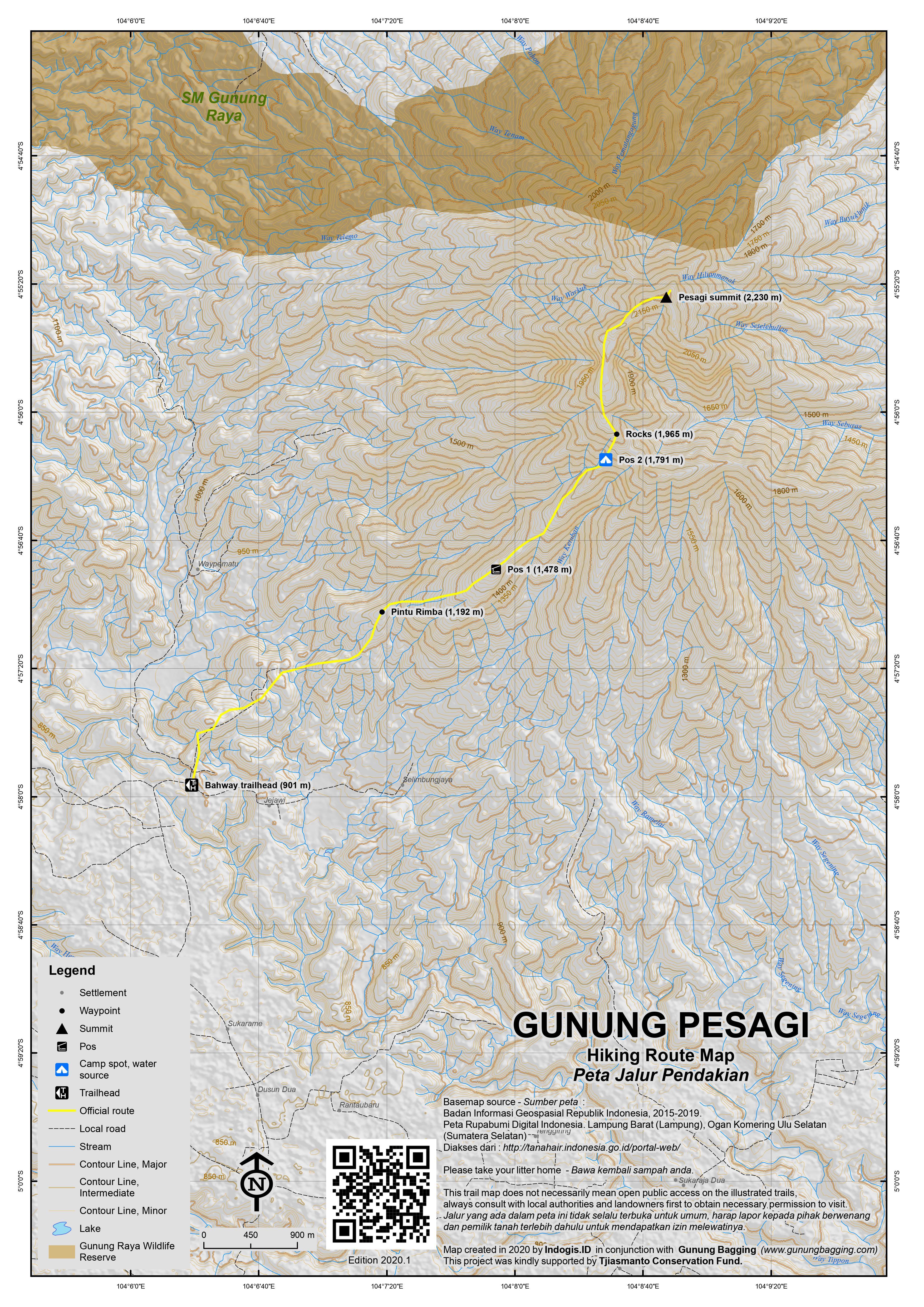 Peta Jalur Pendakian Gunung Pesagi