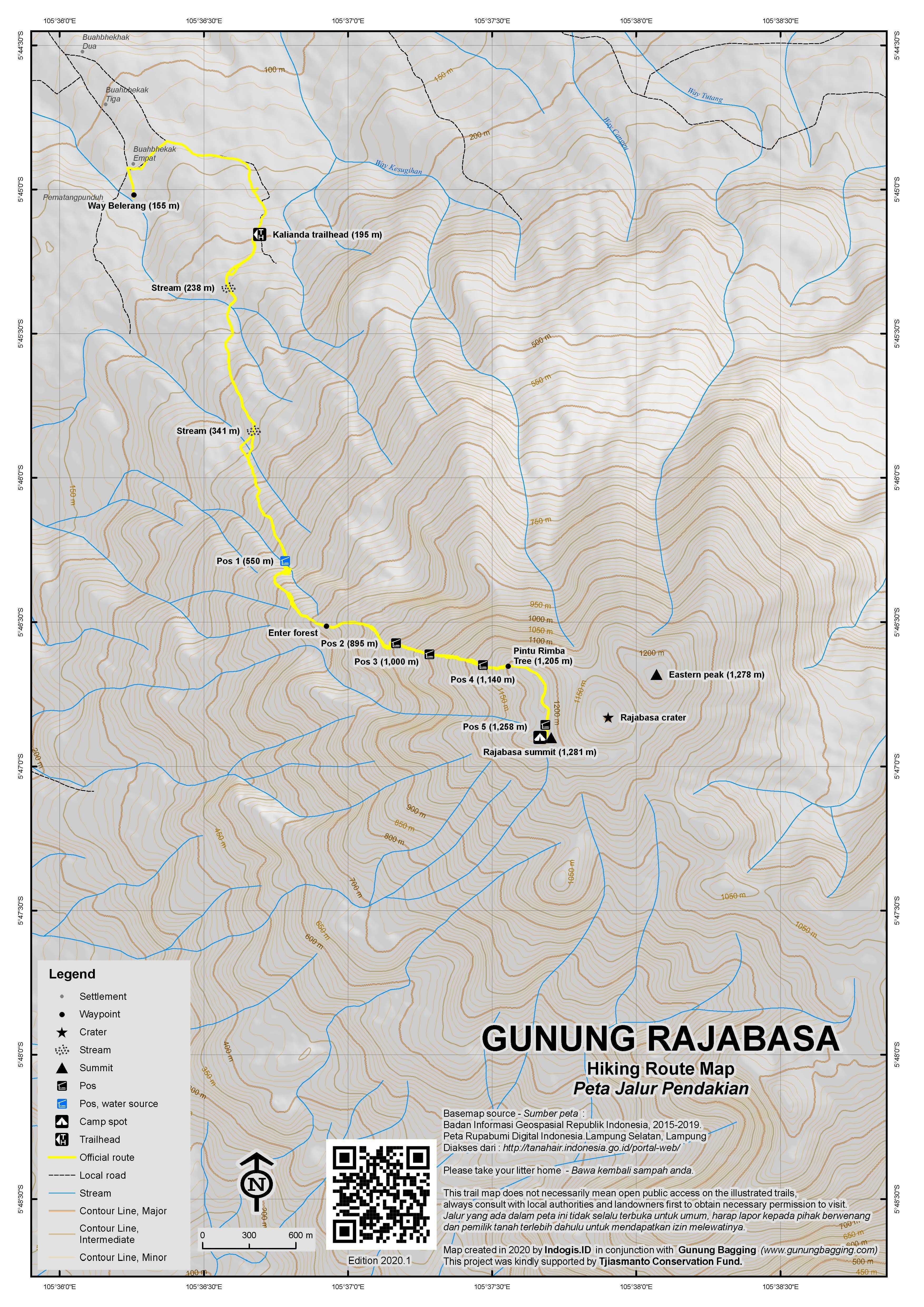 Peta Jalur Pendakian Gunung Rajabasa