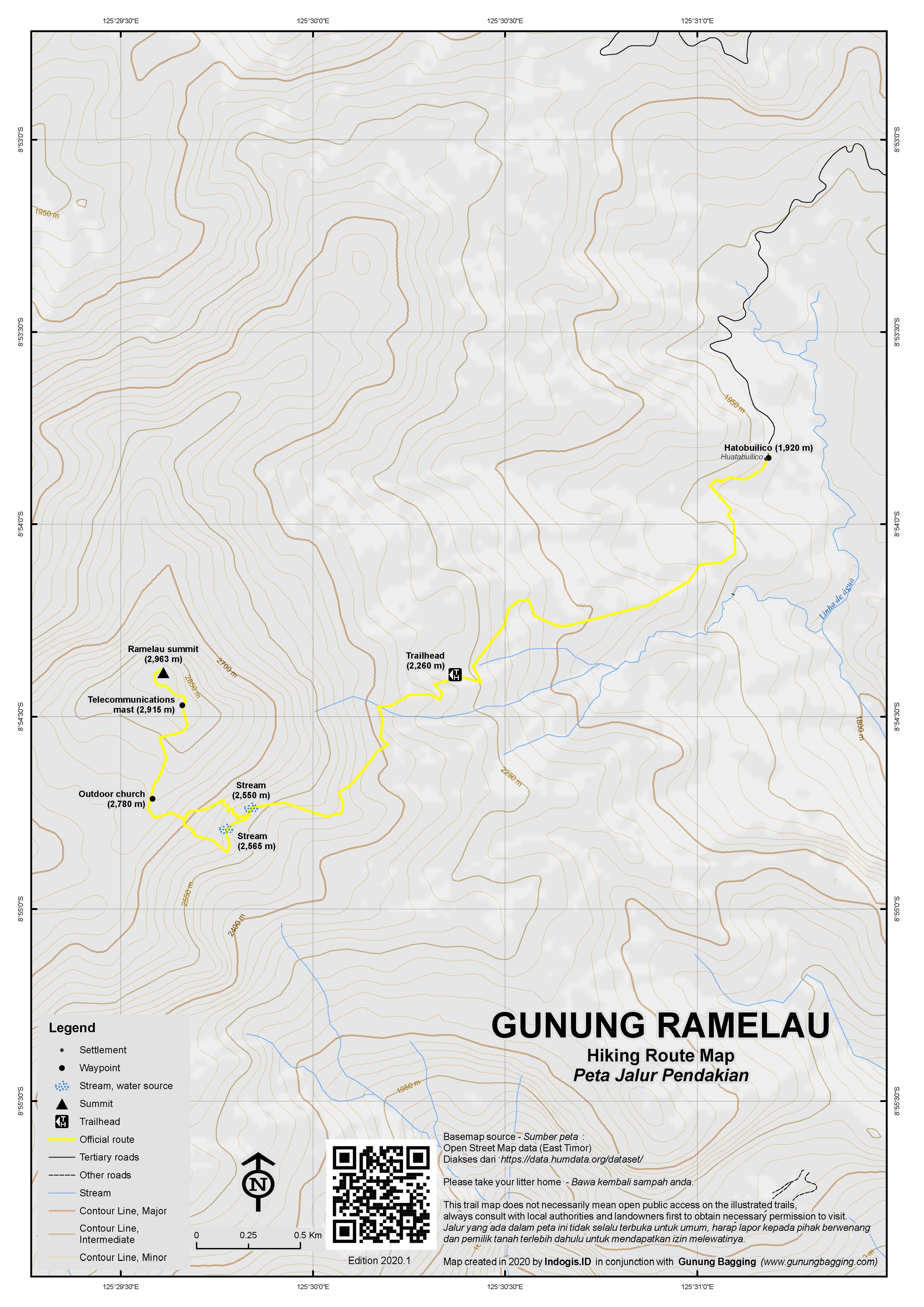 Peta Jalur Pendakian Gunung Ramelau