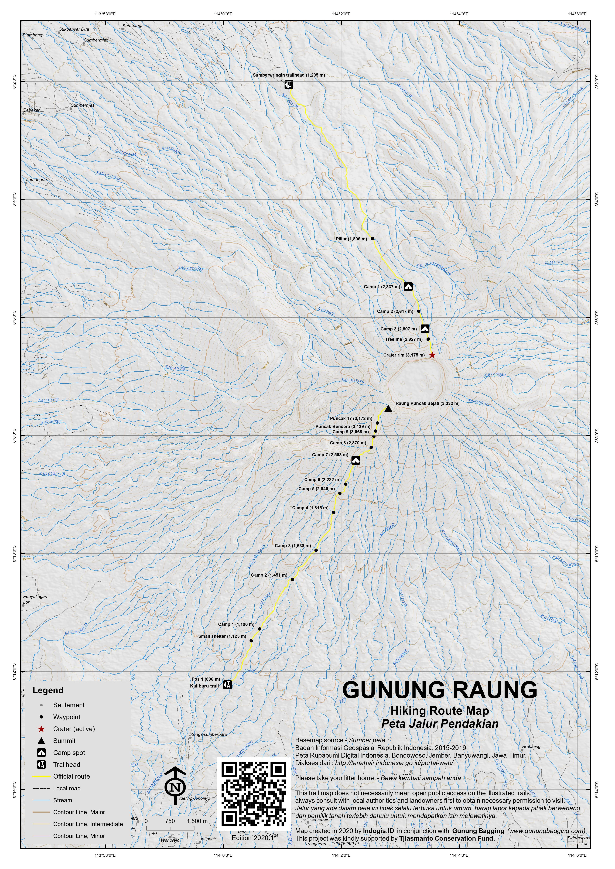 Peta Jalur Pendakian Gunung Raung