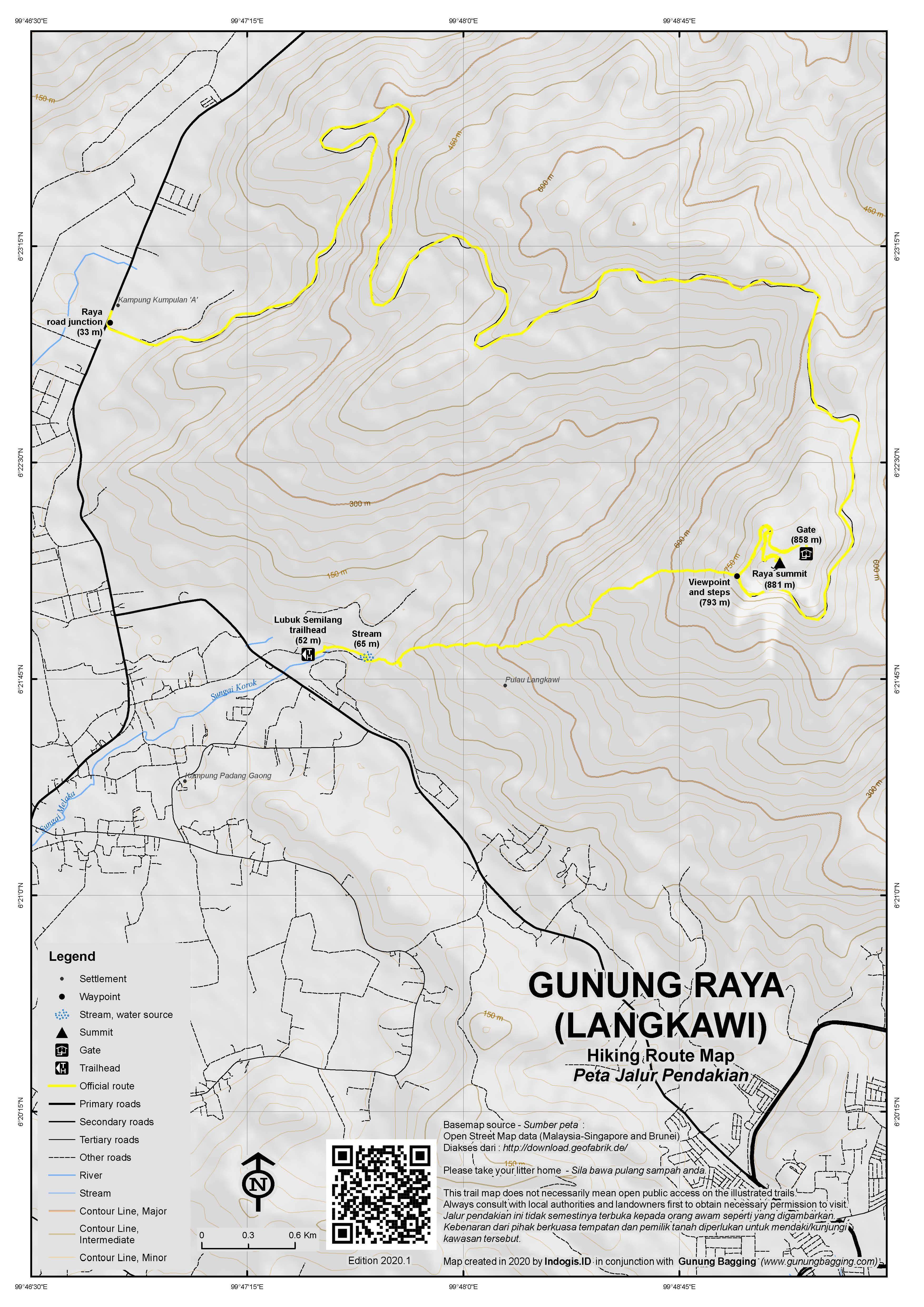 Peta Jalur Pendakian Gunung Raya (Langkawi)