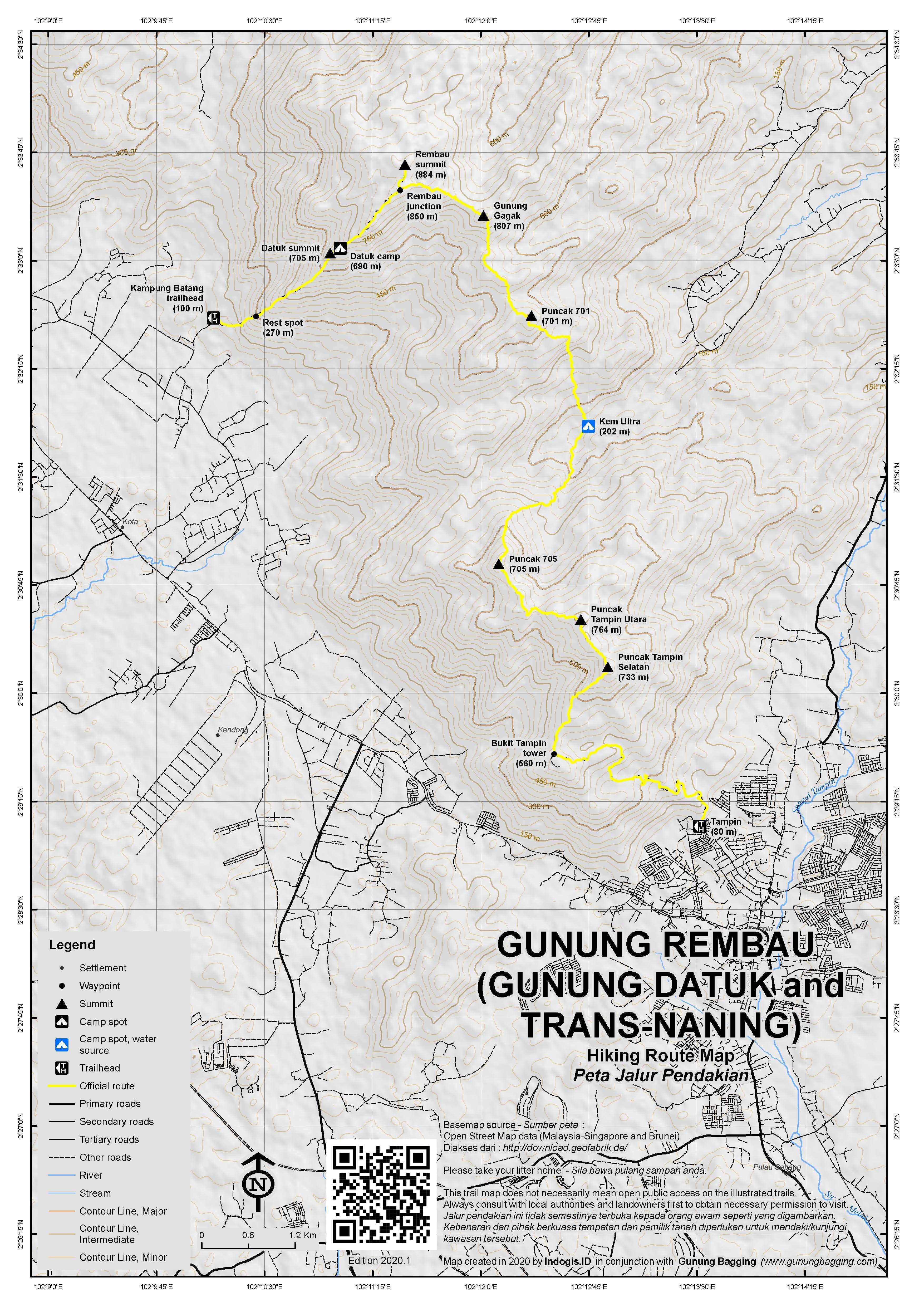 Peta Jalur Pendakian Gunung Rembau