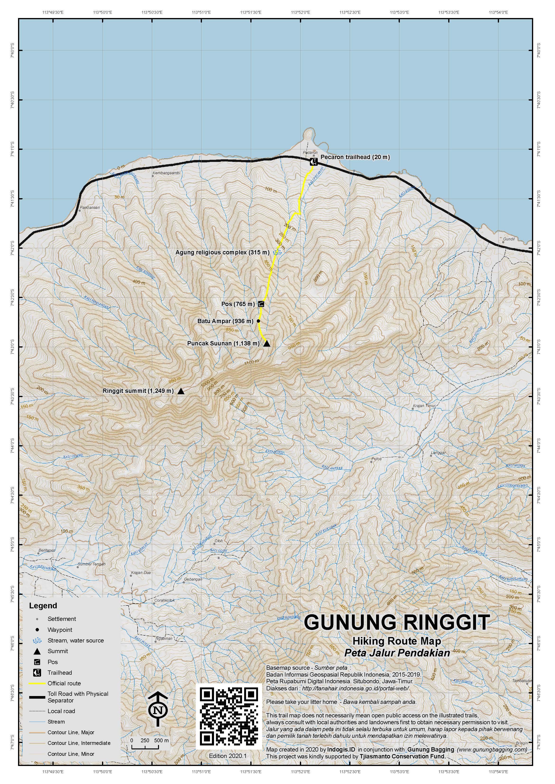 Peta Jalur Pendakian Gunung Ringgit