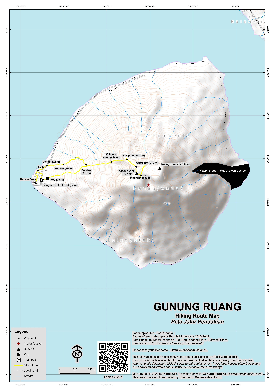 Peta Jalur Pendakian Gunung Ruang