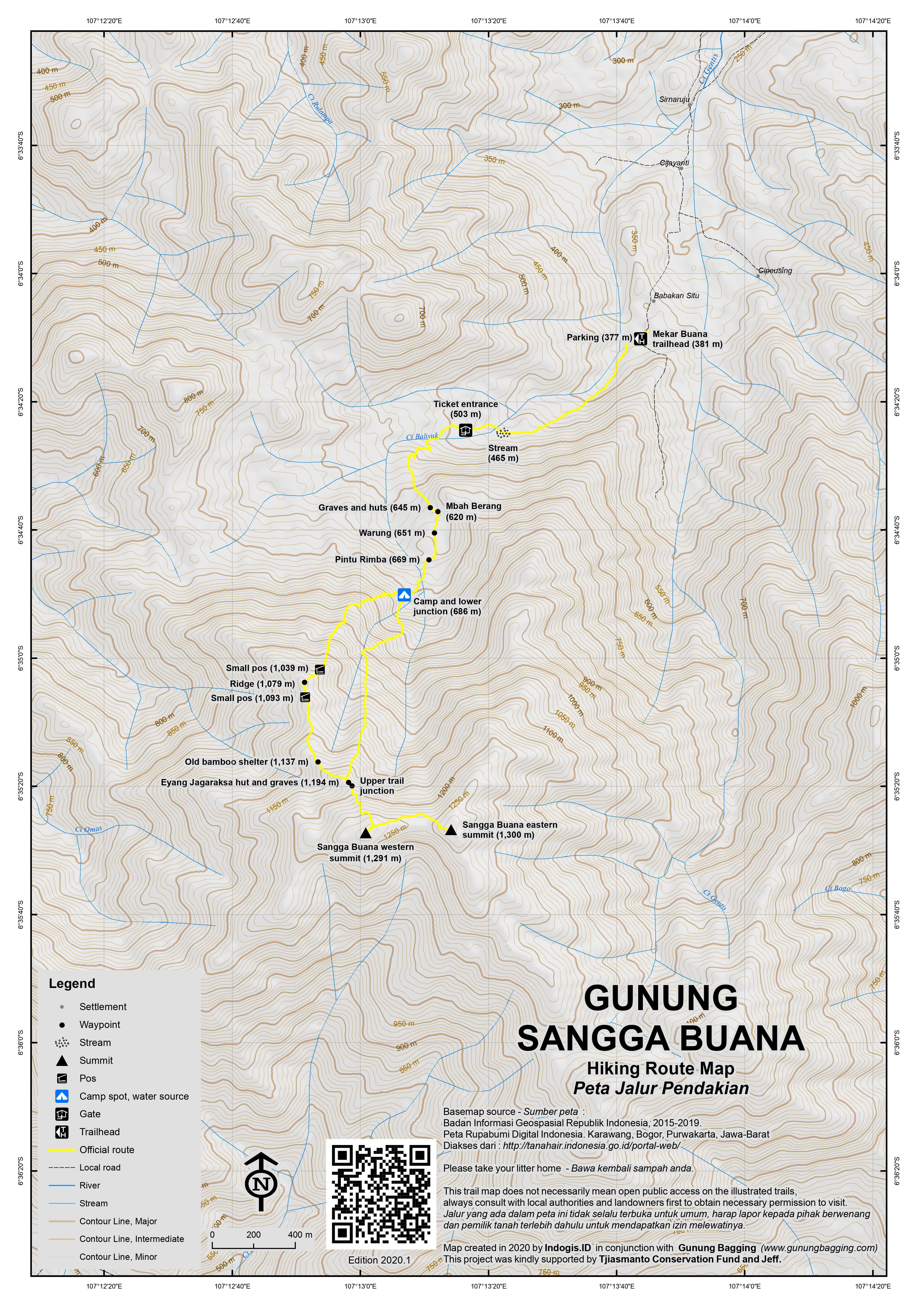 Peta Jalur Pendakian Gunung Sangga Buana