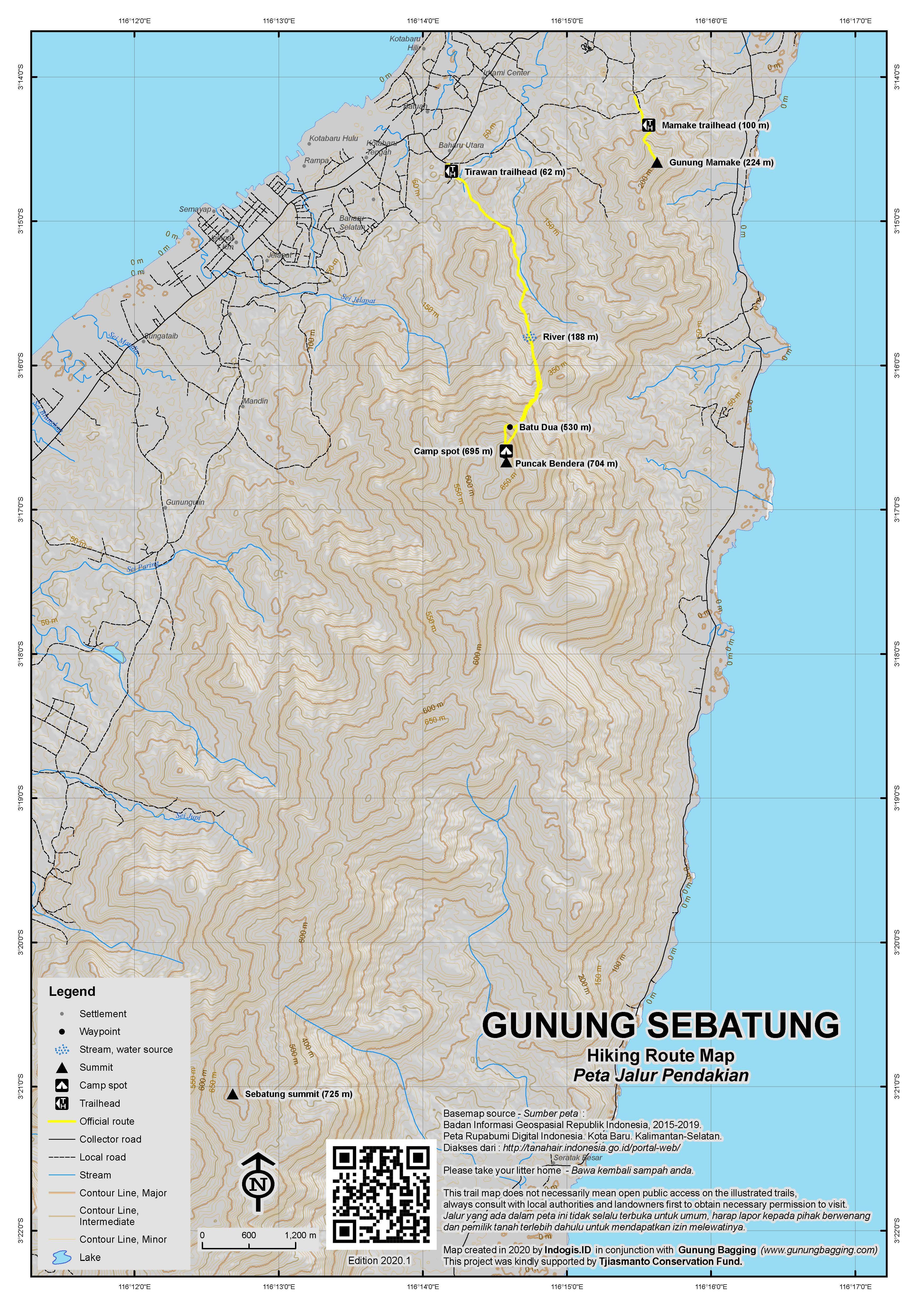 Peta Jalur Pendakian Gunung Sebatung
