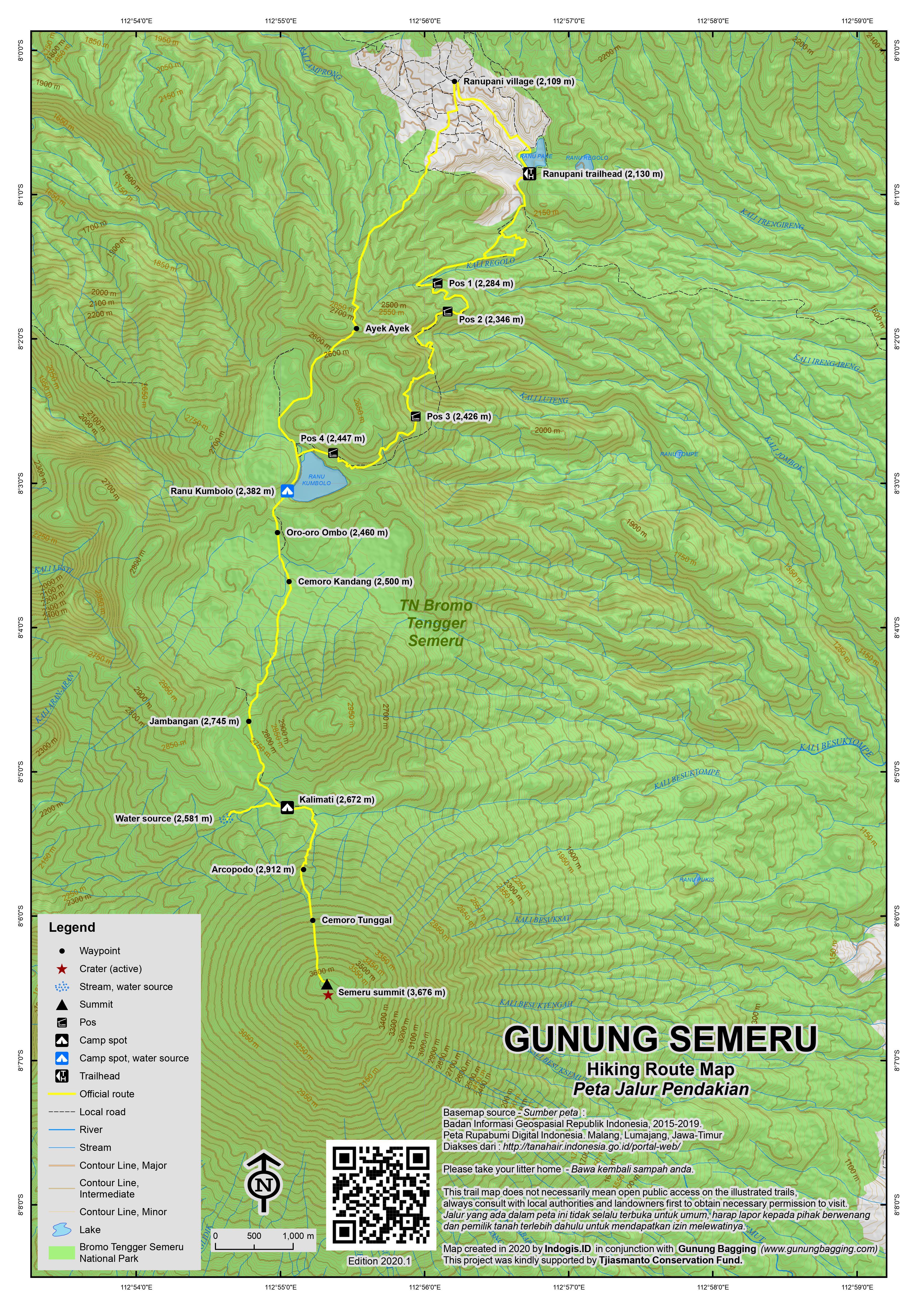 Peta Jalur Pendakian Gunung Semeru