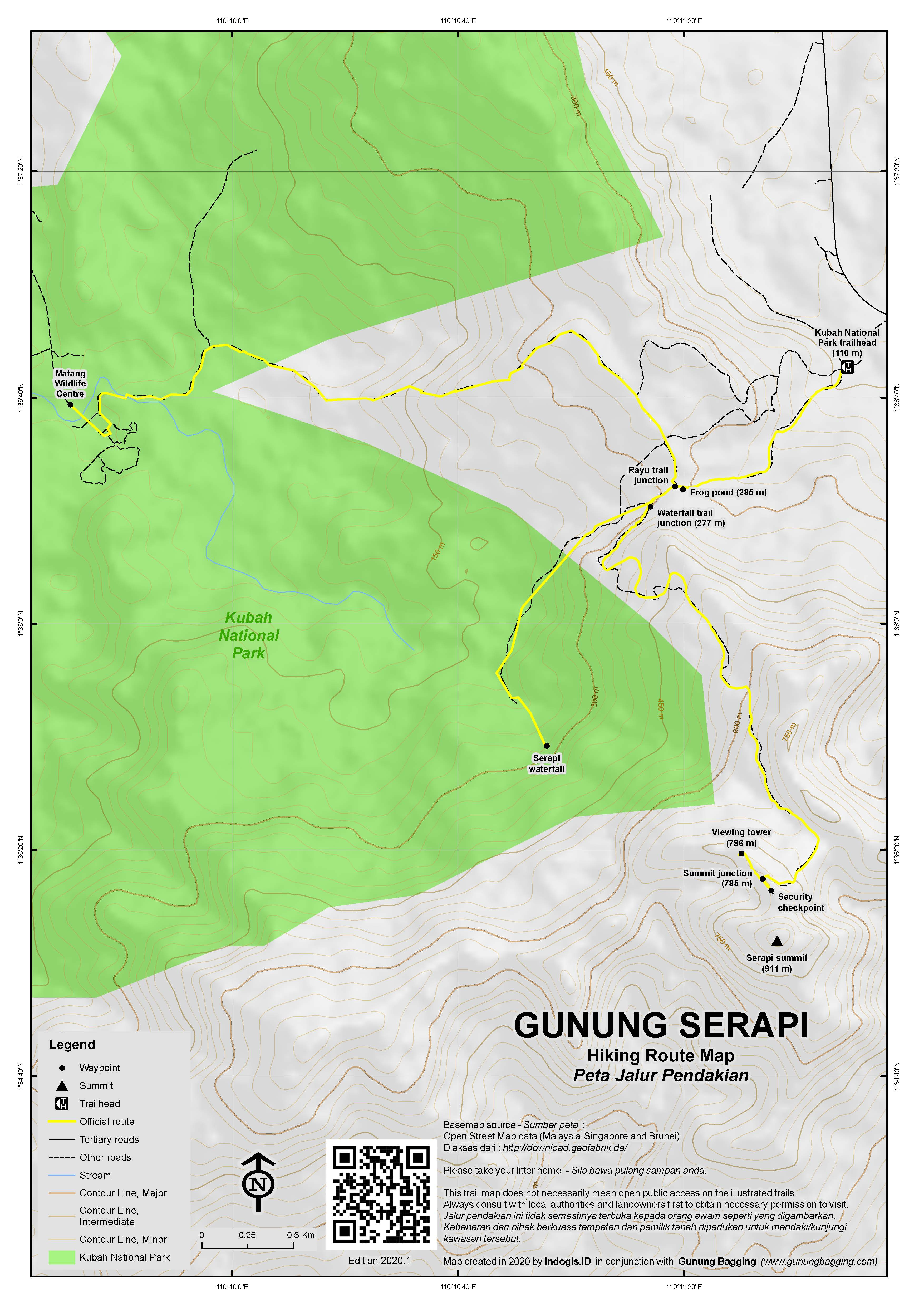 Peta Jalur Pendakian Gunung Serapi